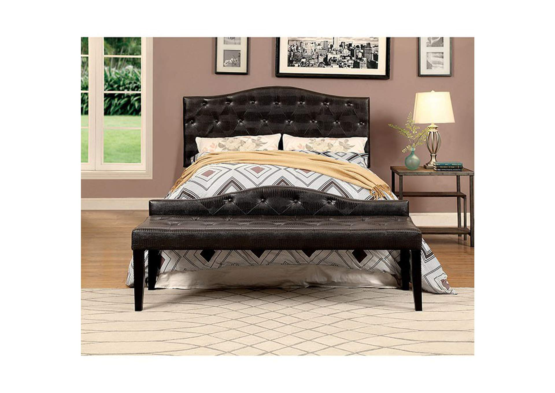 Calpas III Brown Large Leatherette Bench,Furniture of America