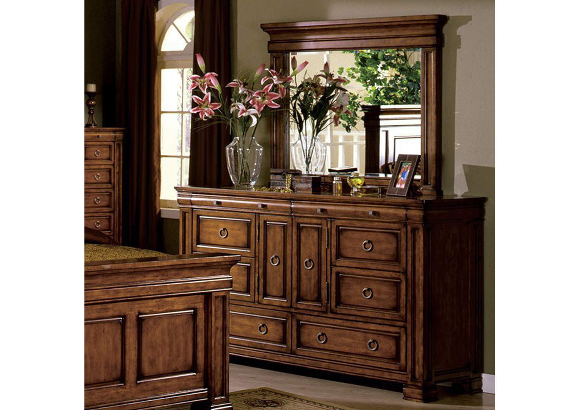 Cambridge Tobacco Oak Dresser,Furniture of America