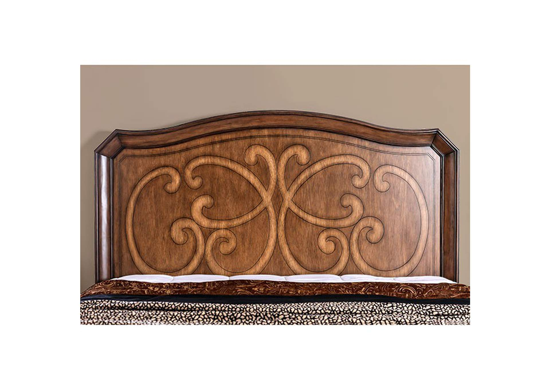 Emmaline Warm Chestnut Queen Platform Bed,Furniture of America