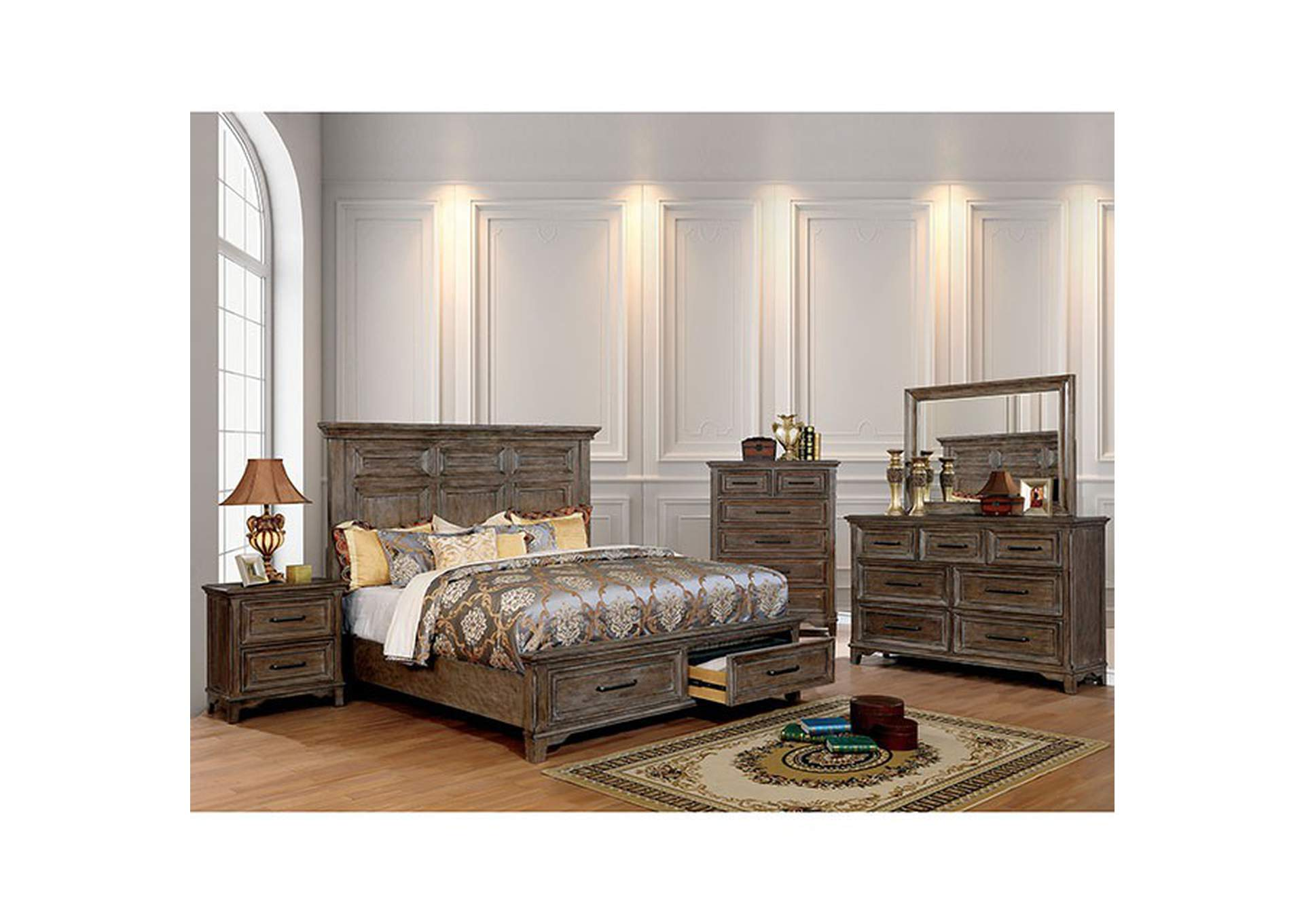 Oberon Rustic Oak Queen Storage Bed,Furniture of America