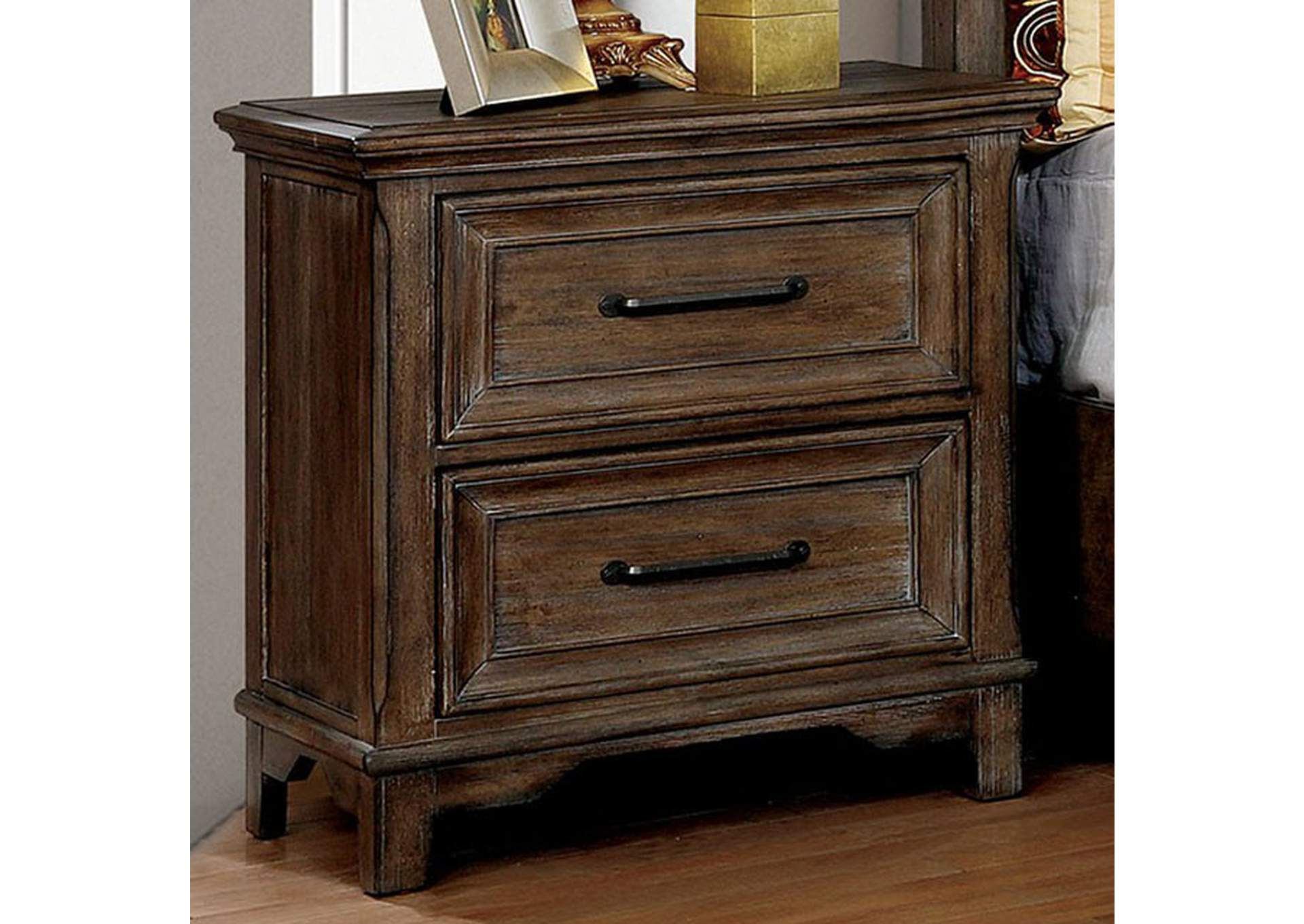 Oberon Rustic Oak Nightstand,Furniture of America