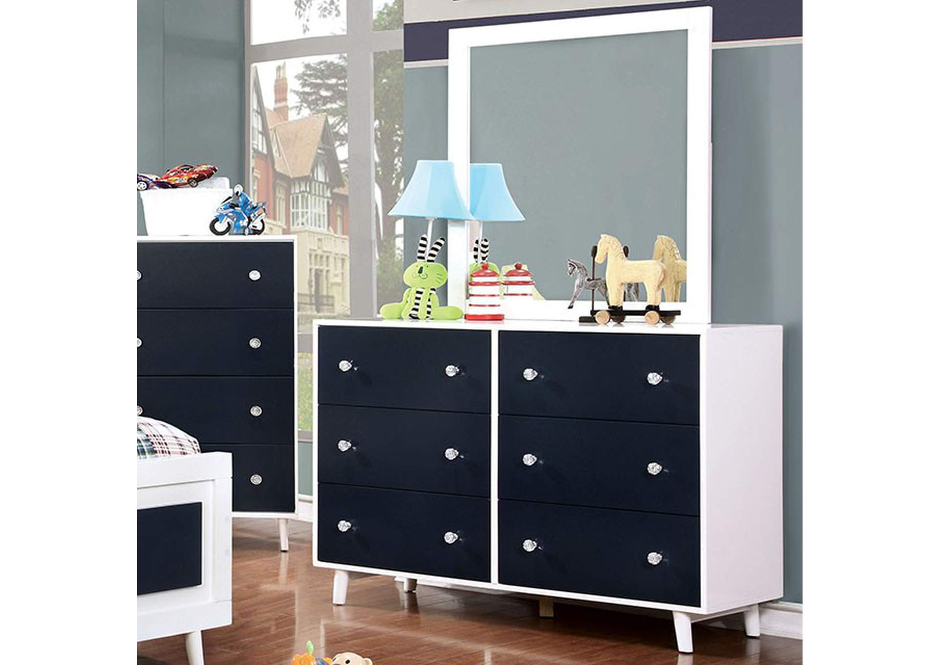 Alivia Blue/White Dresser,Furniture of America