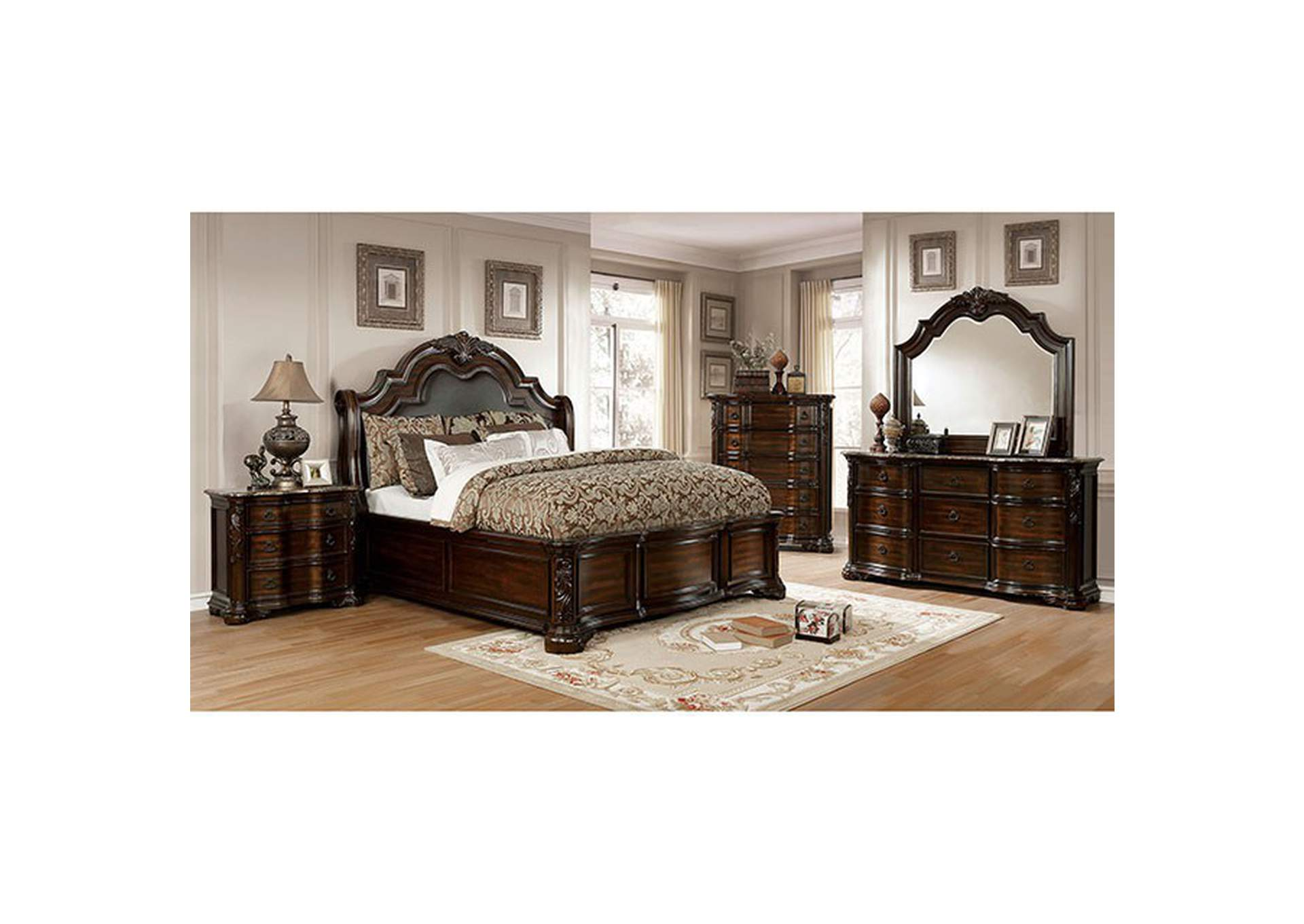 Niketas Brown Upholstered California King Platform Bed,Furniture of America
