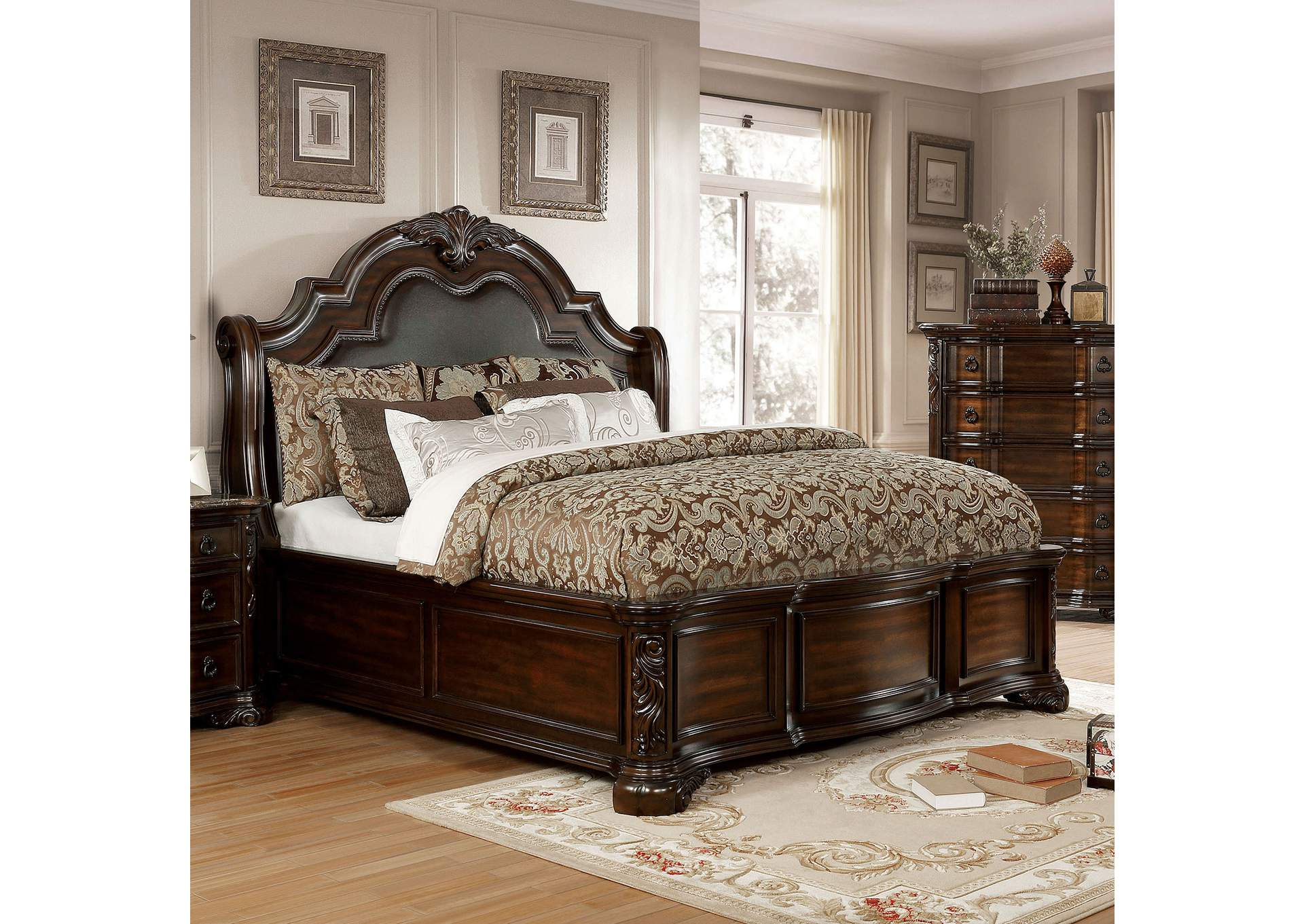 Niketas Brown Uphoolstered Queen Platform Bed,Furniture of America