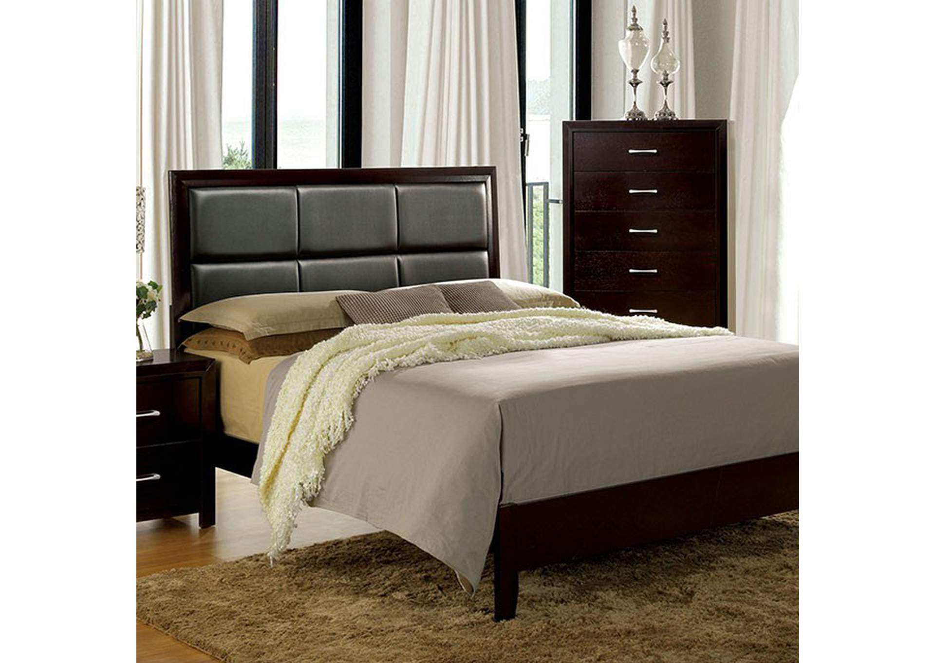 Janine Espresso Queen Bed,Furniture of America