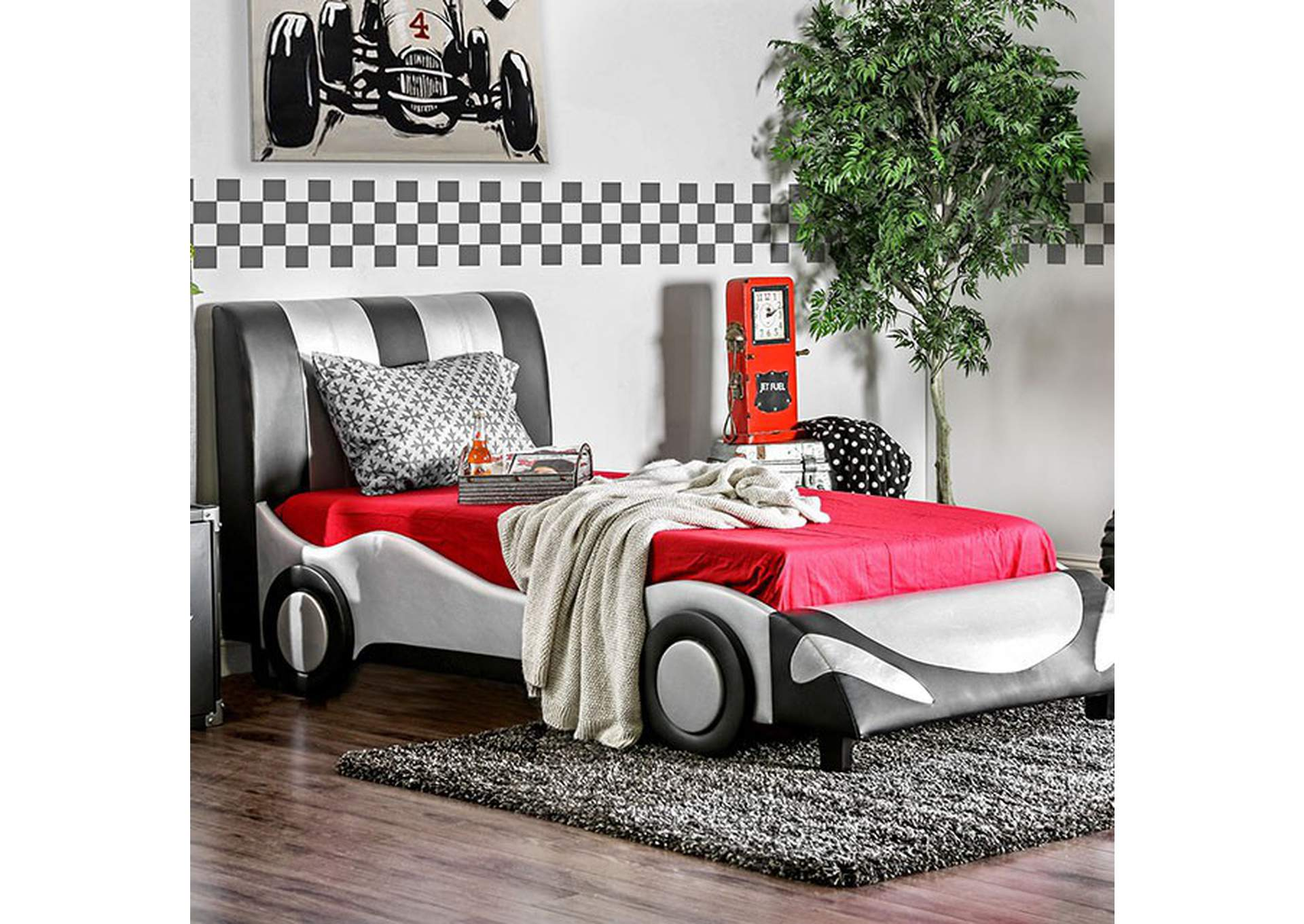 Super Racer Silver/Black Leatherette Full Race Car Bed,Furniture of America