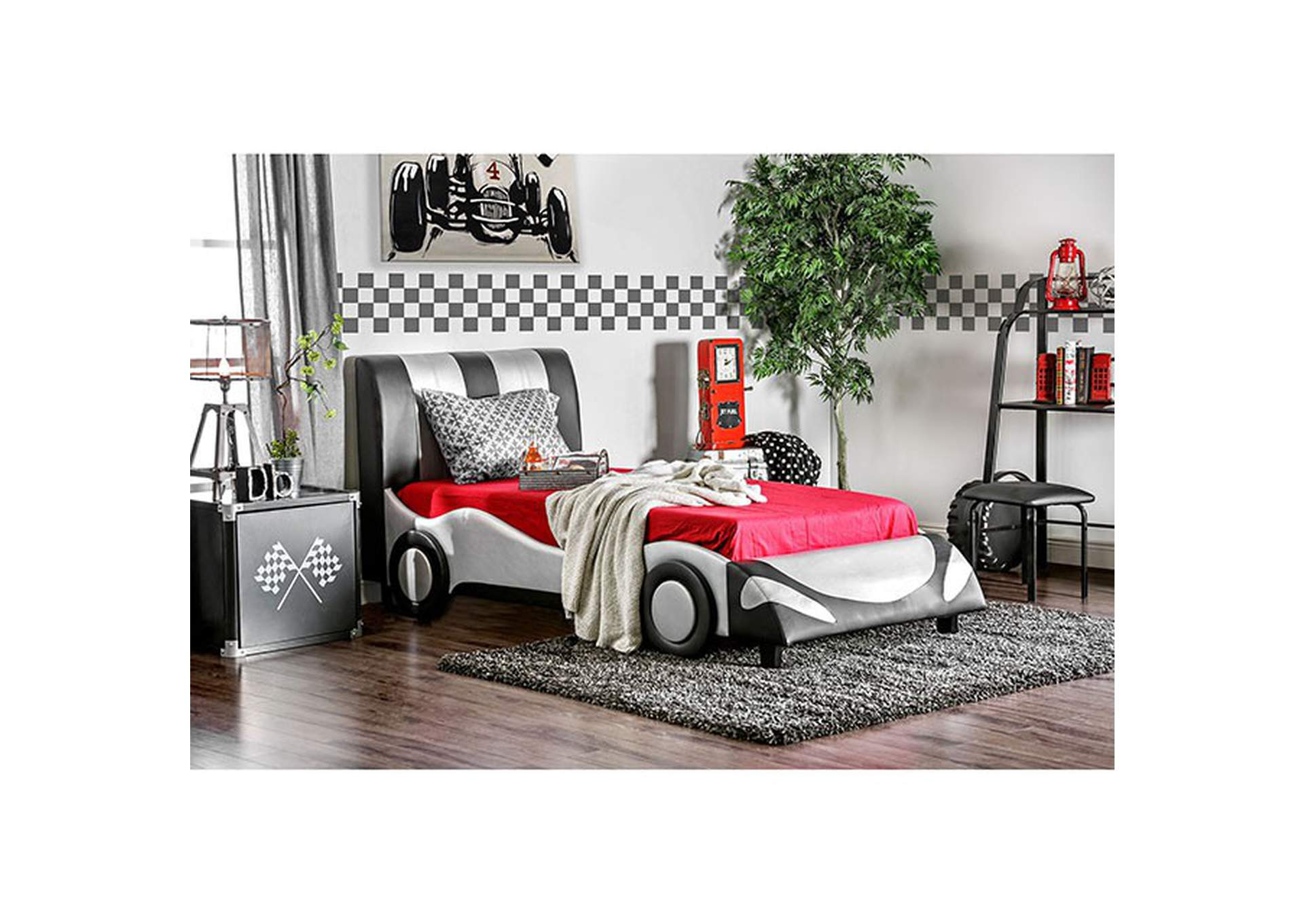 Super Racer Silver Twin Bed,Furniture of America
