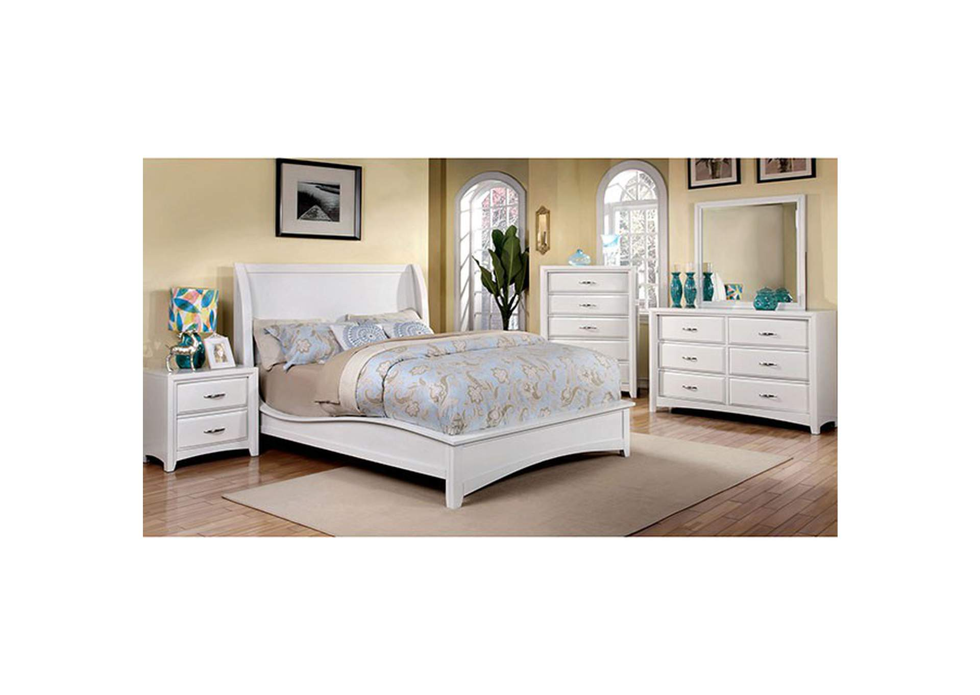 Delphie White Upholstered California King Bed,Furniture of America