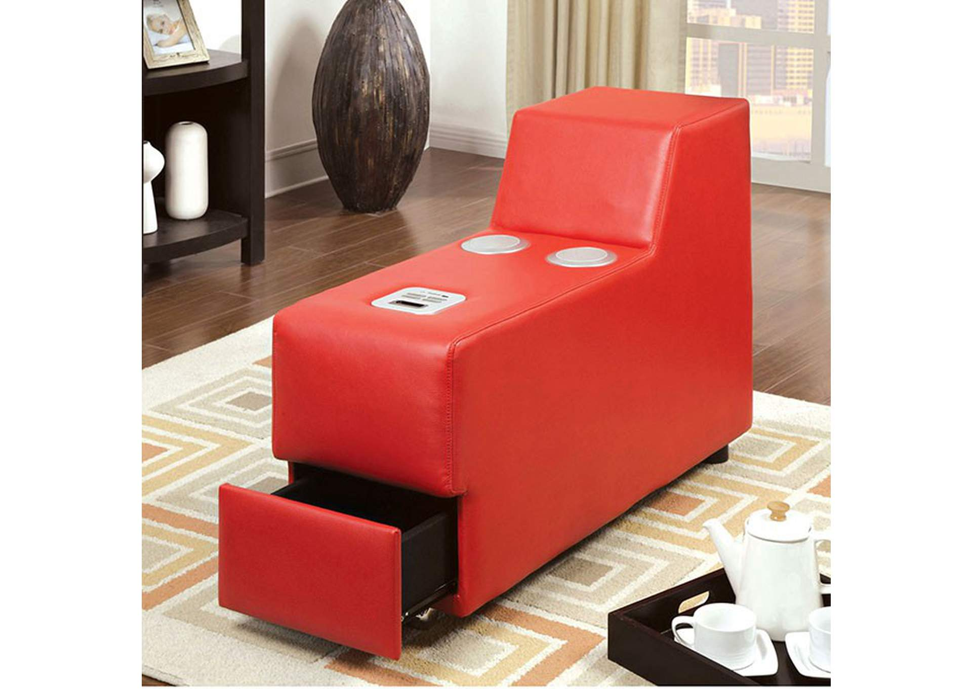 Floria Red Bonded Leather Speaker Console,Furniture of America