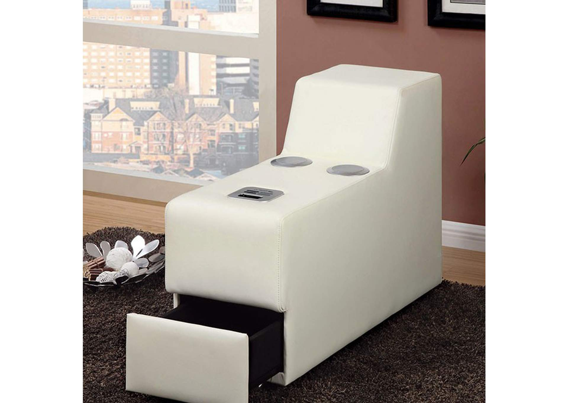 Floria White Bonded Leather Speaker Console,Furniture of America