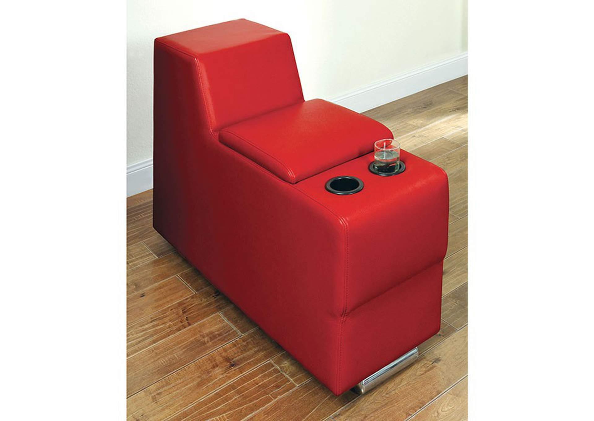 Floria Red Bonded Leather Storage Console Dream Decor Furniture