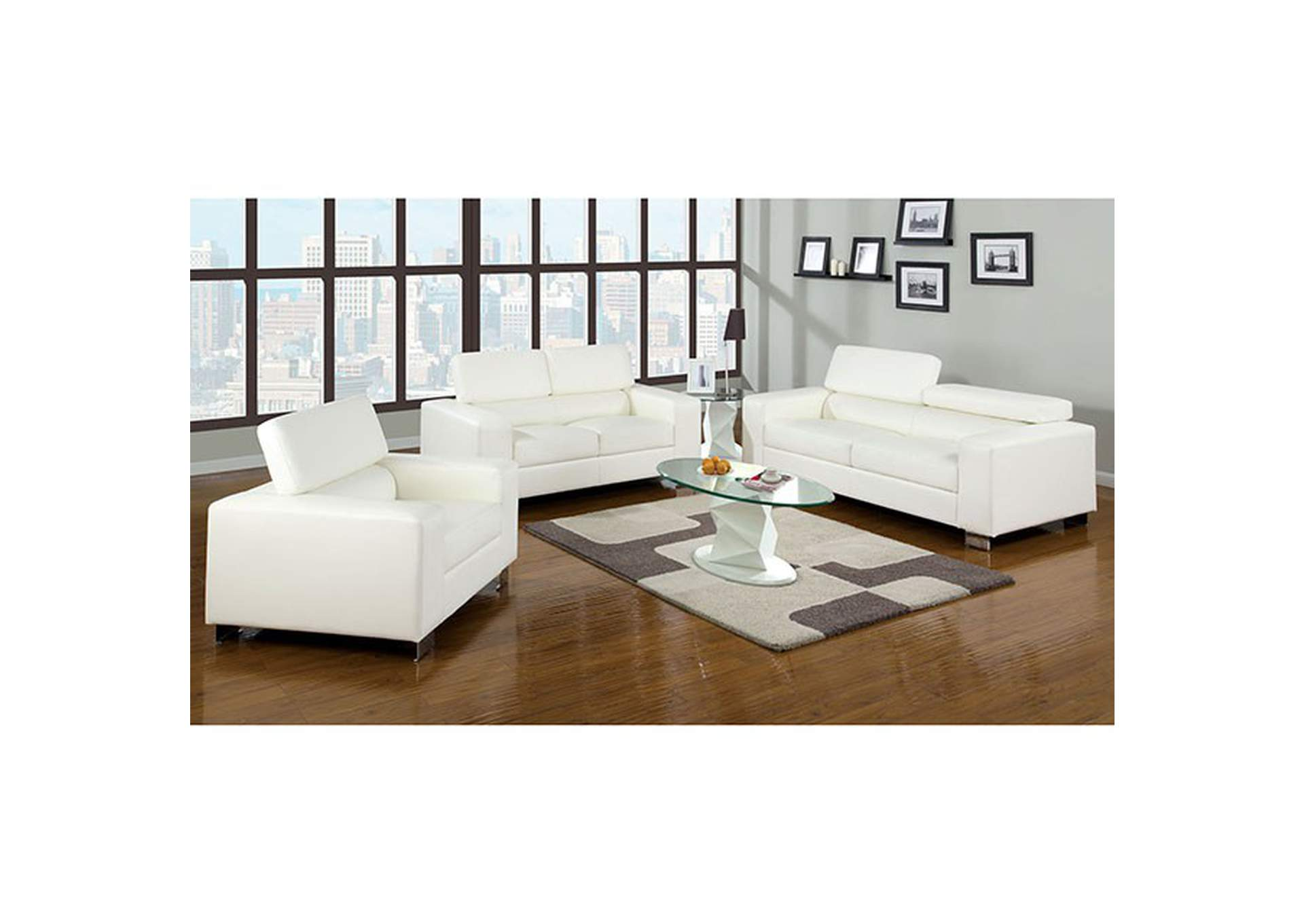 Makri White Sofa,Furniture of America