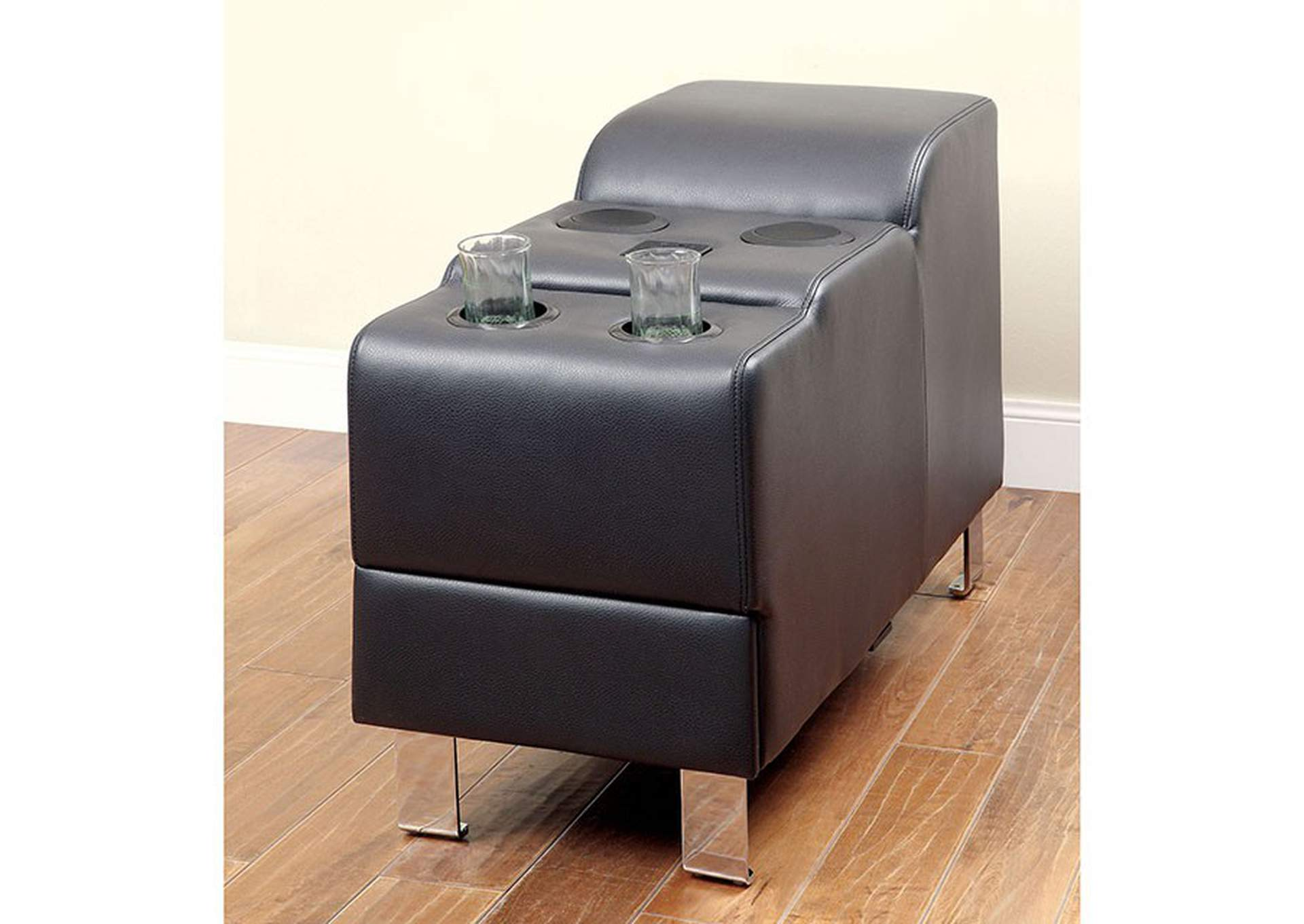 Kemina Black Bonded Leather Speaker Console,Furniture of America