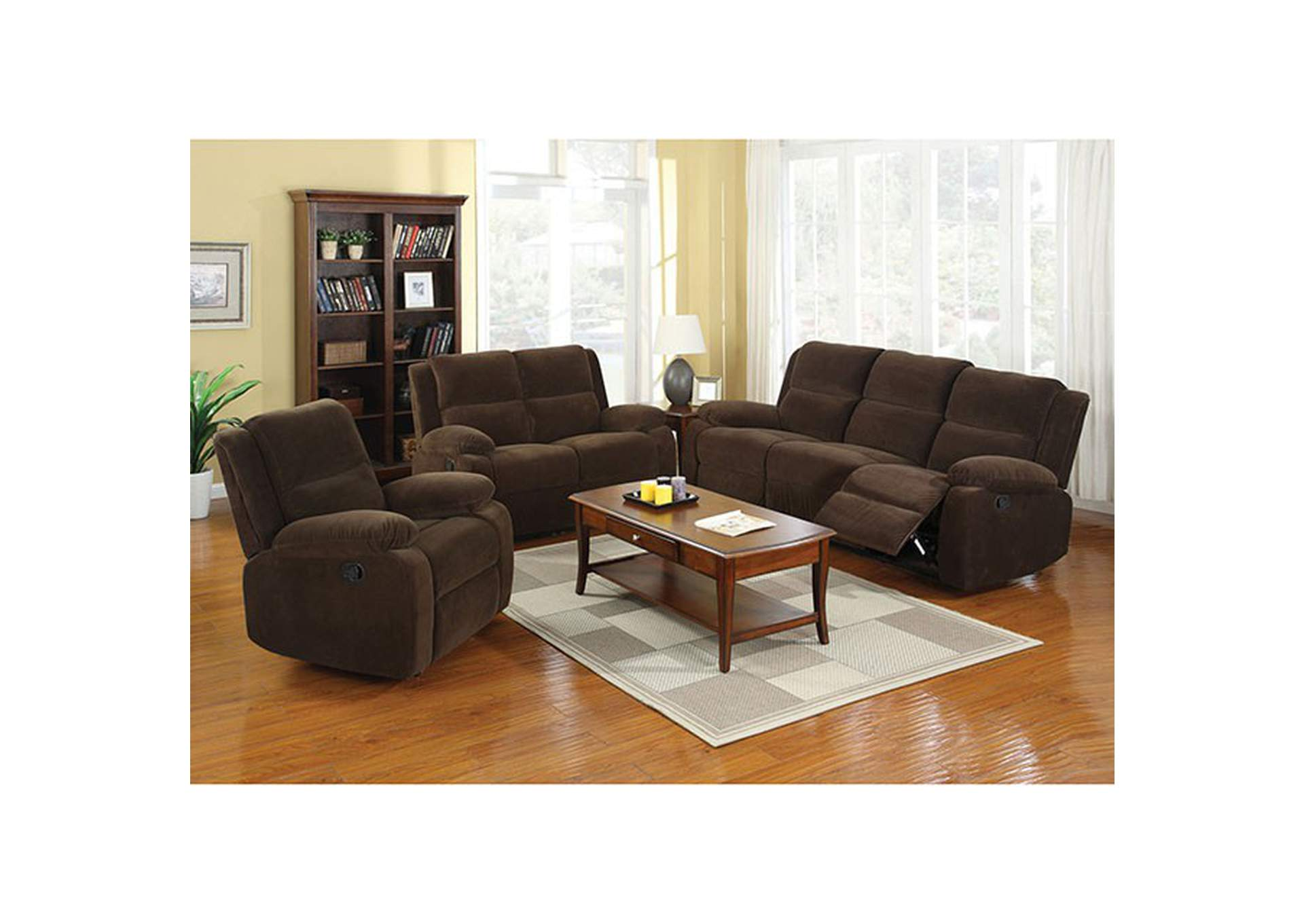 Haven Dark Brown Sofa w/2 Recliners,Furniture of America