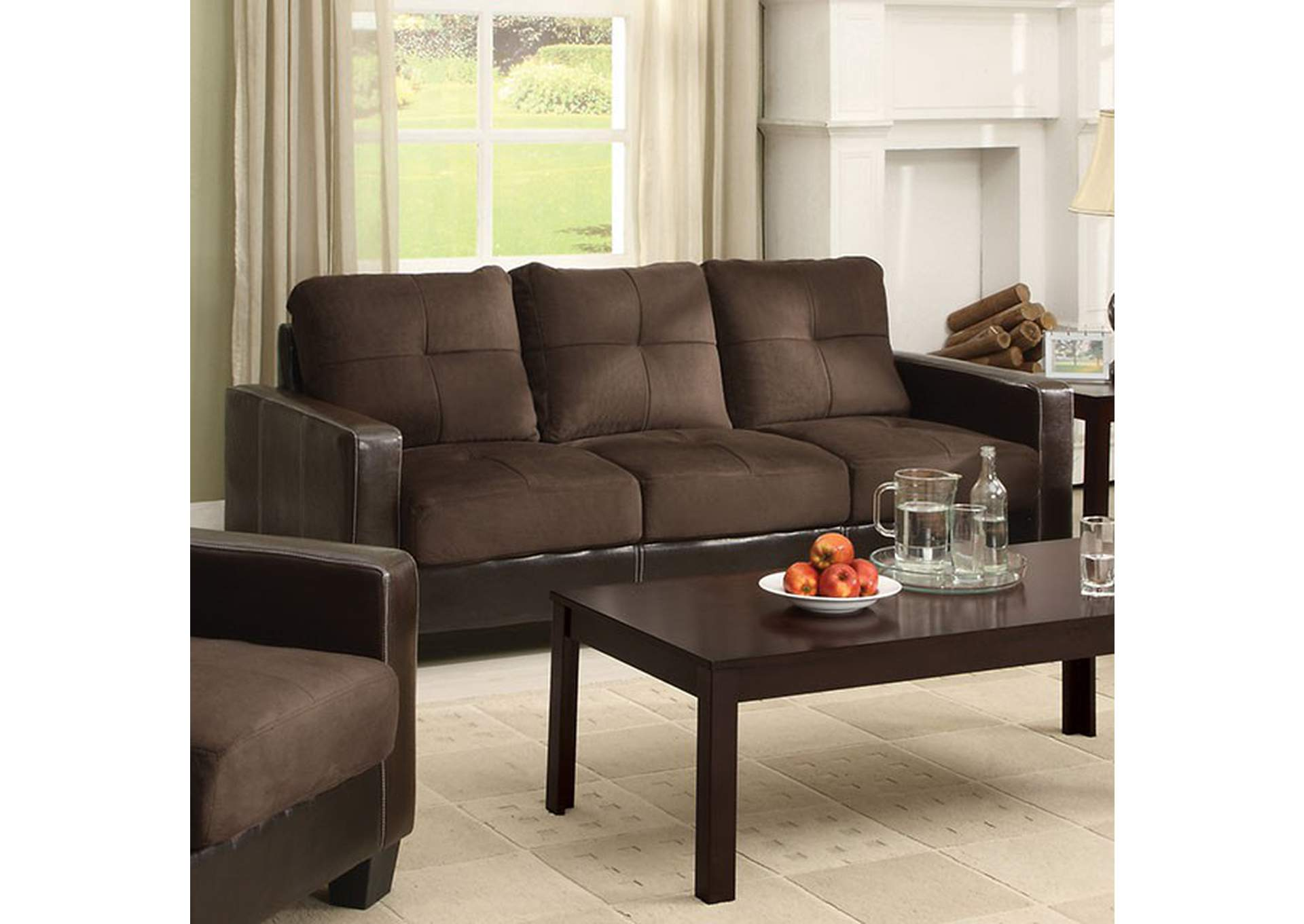 Laverne Chocolate Sofa,Furniture of America
