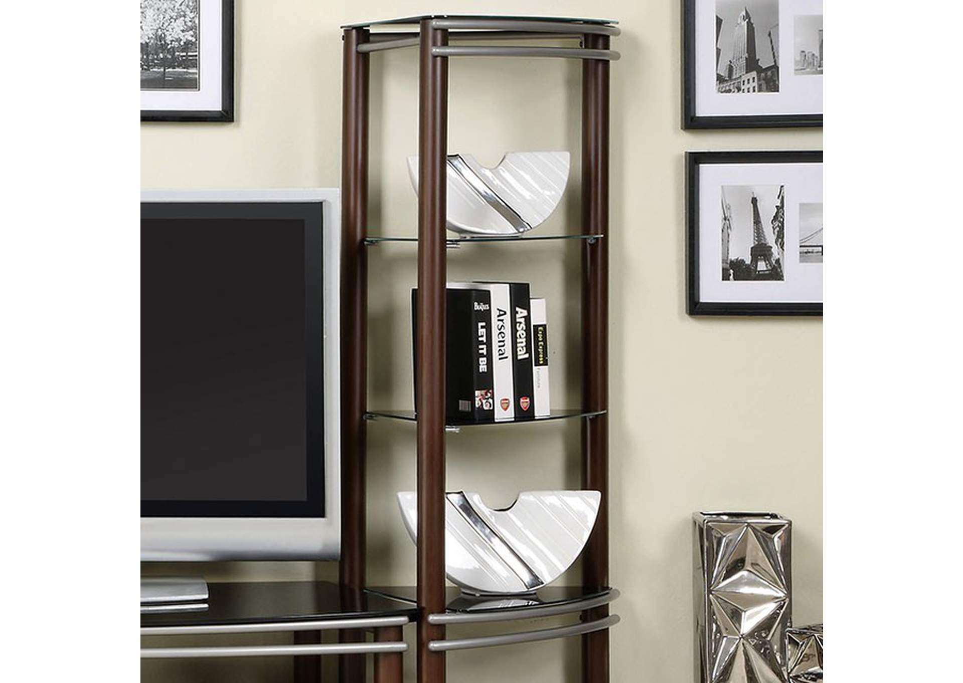 Silver Creek Brown & Silver Pier Shelves (1 Pair),Furniture of America