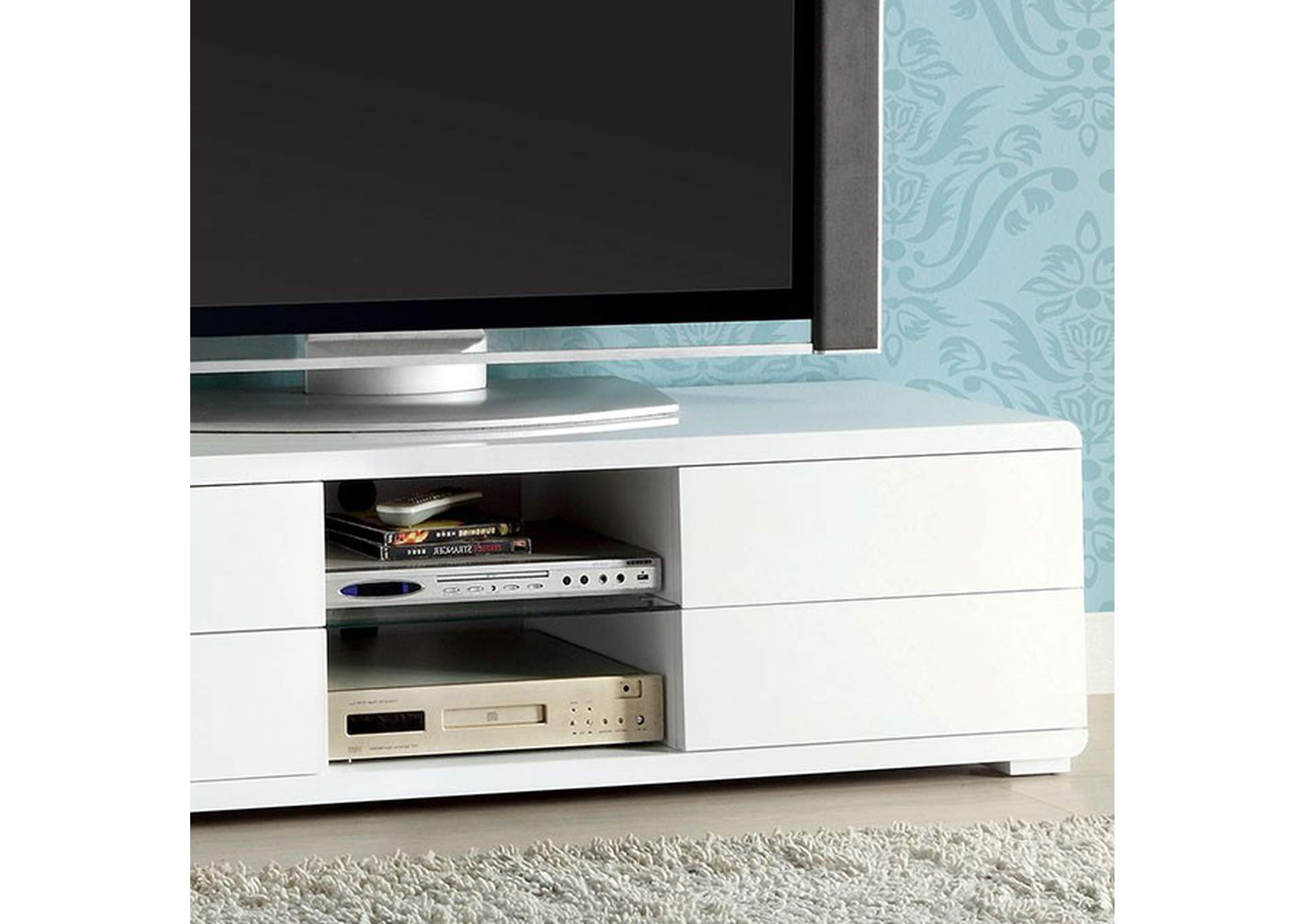 "Cerro 59"" White Lacquer TV Console,Furniture of America"