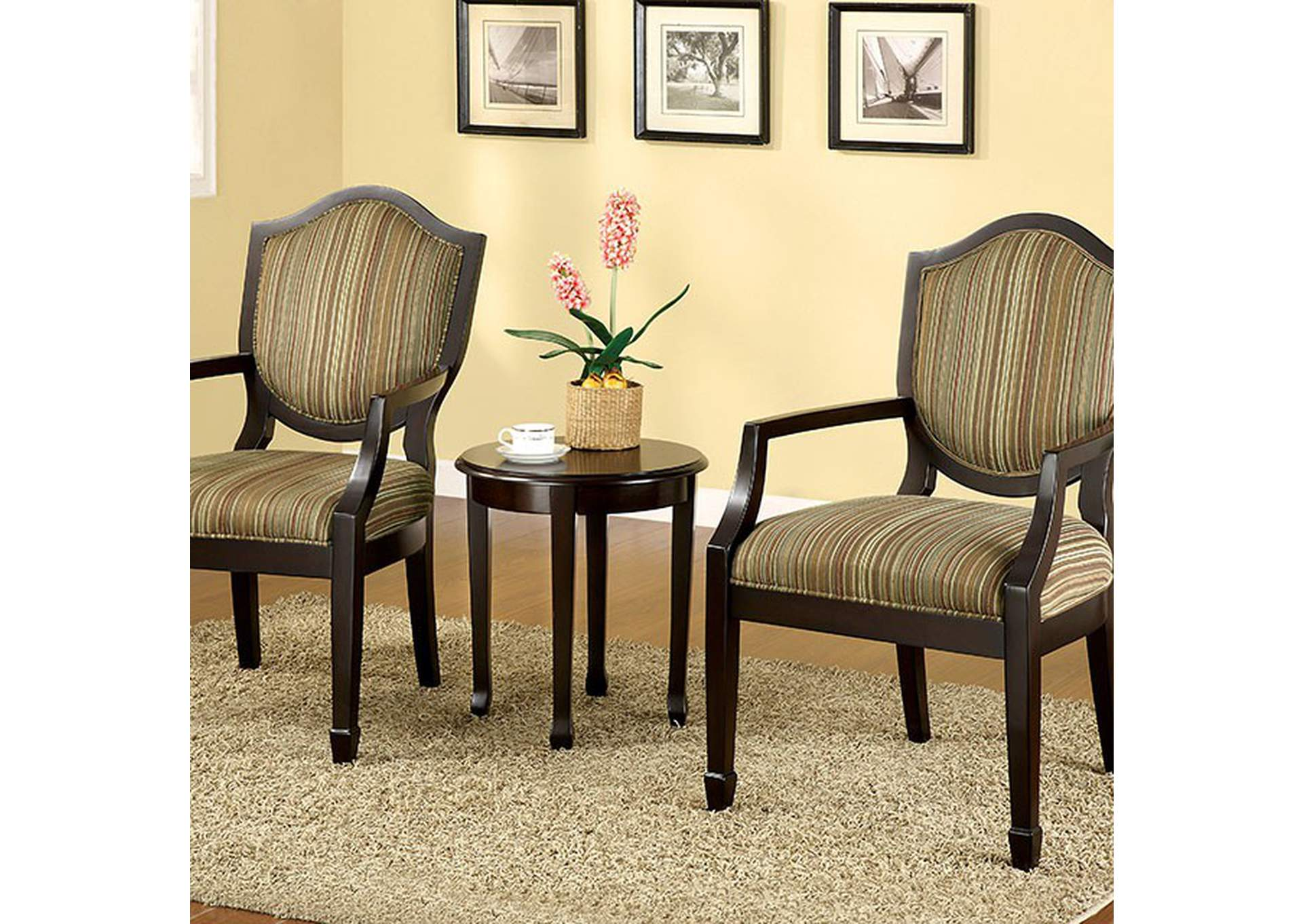 Bernetta Tan Set of Table & Accent Chairs,Furniture of America