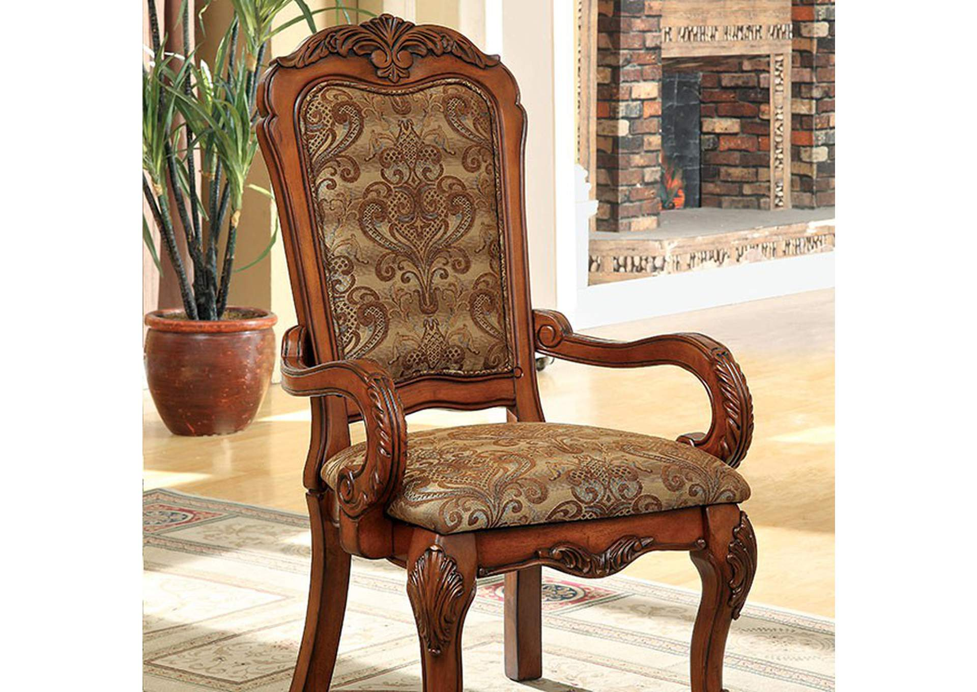 Medieve Antique Oak Arm Chair [Set of 2],Furniture of America