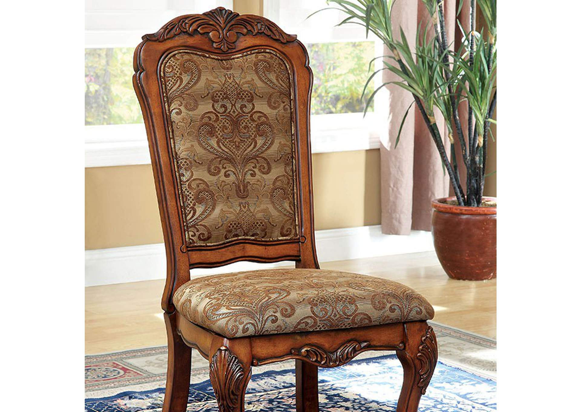 Medieve Antique Oak Side Chair [Set of 2],Furniture of America