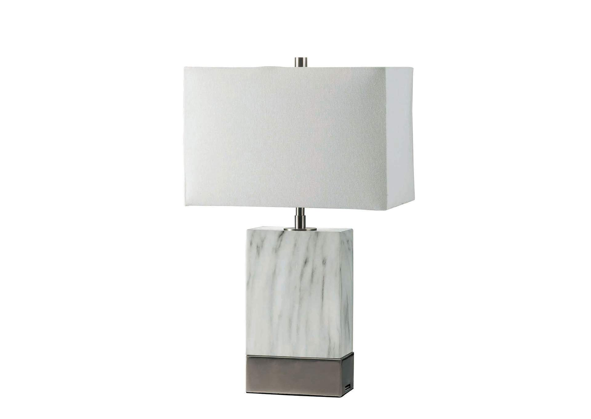 Faith White Table Lamp,Furniture of America