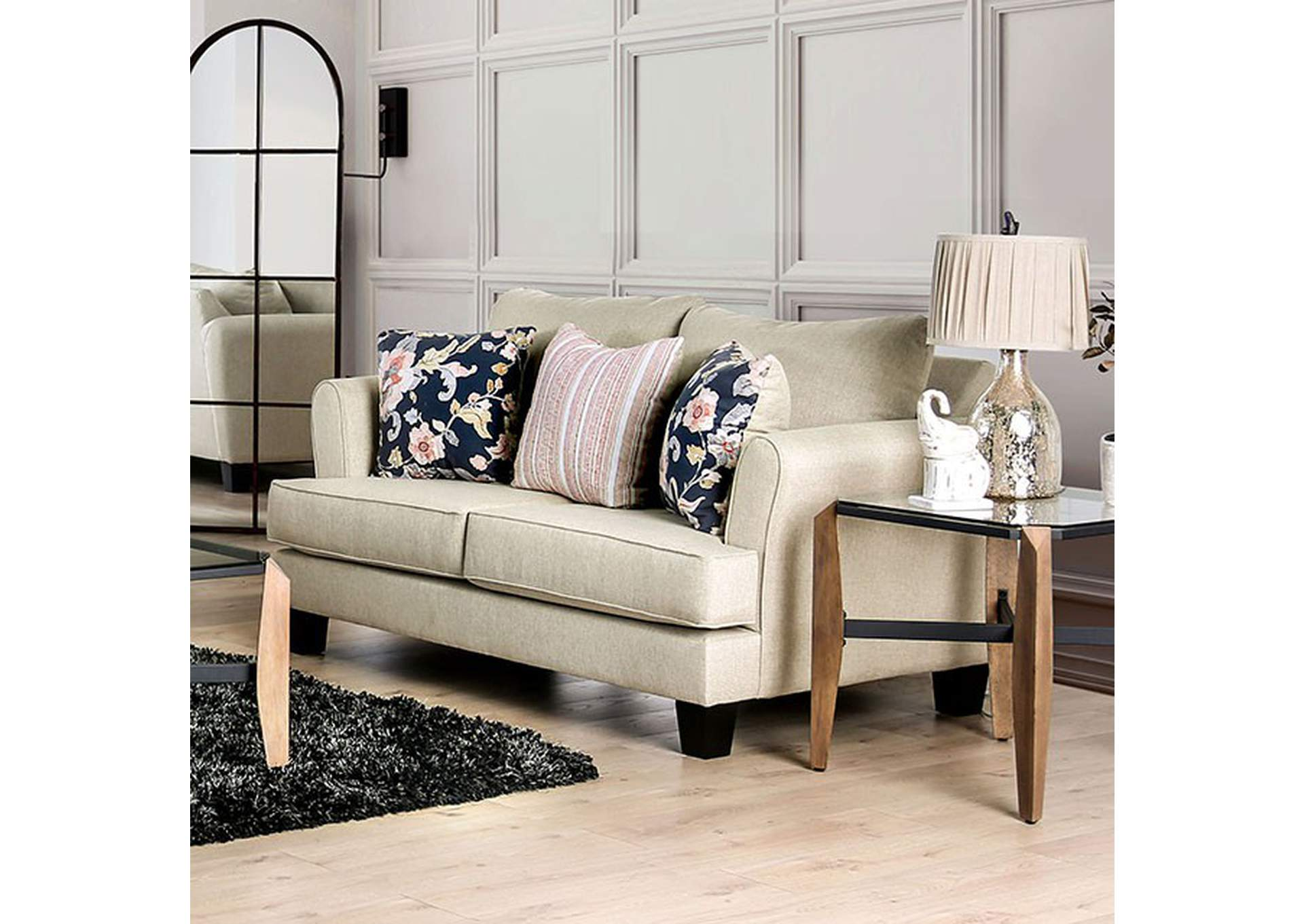 Denbigh Beige Loveseat,Furniture of America