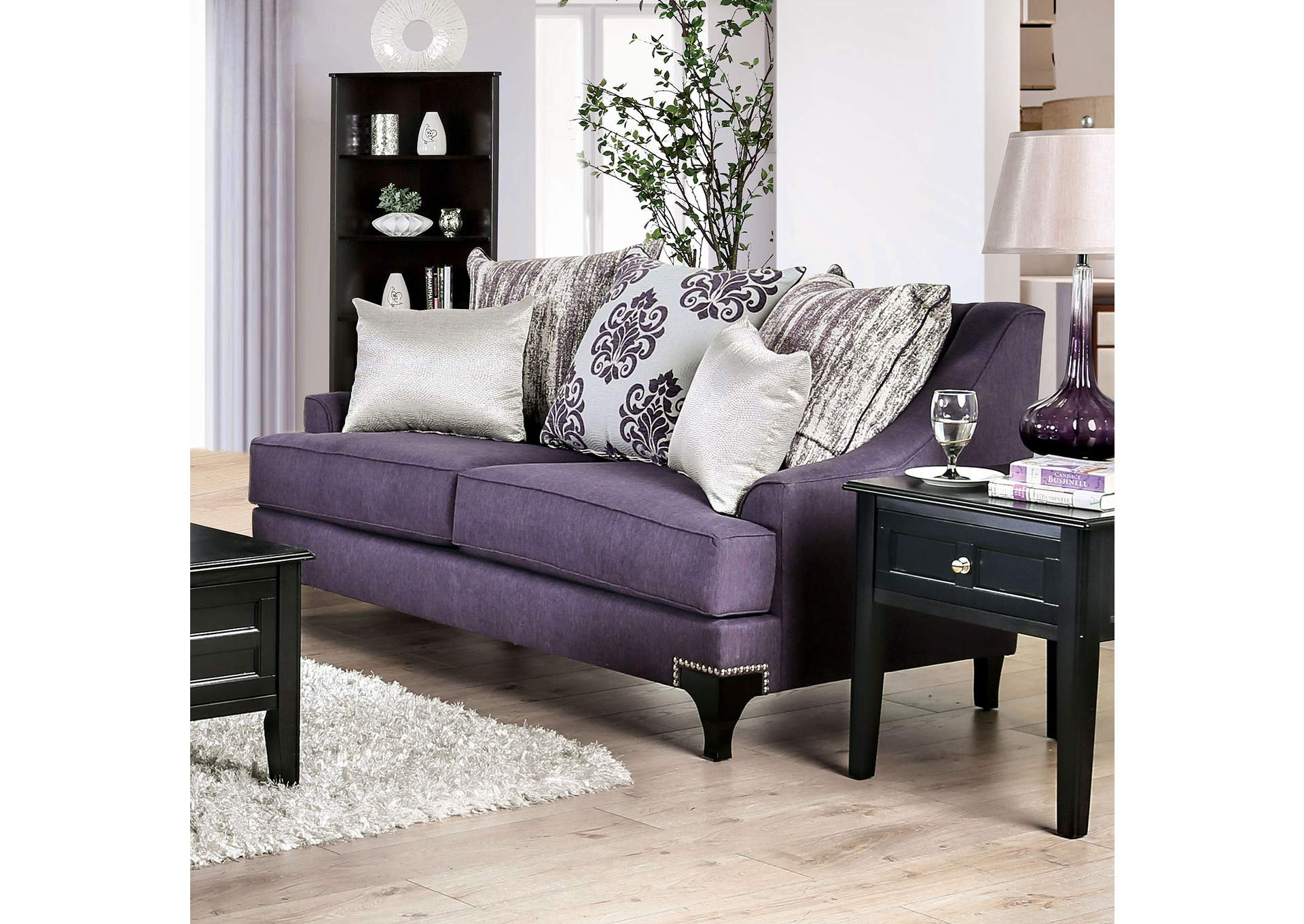 Sisseton Purple Loveseat,Furniture of America