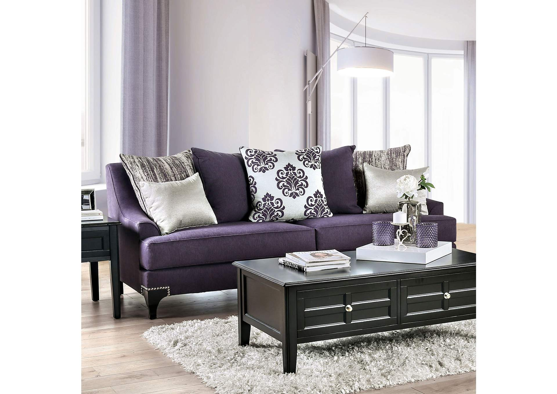 Sisseton Purple Sofa,Furniture of America
