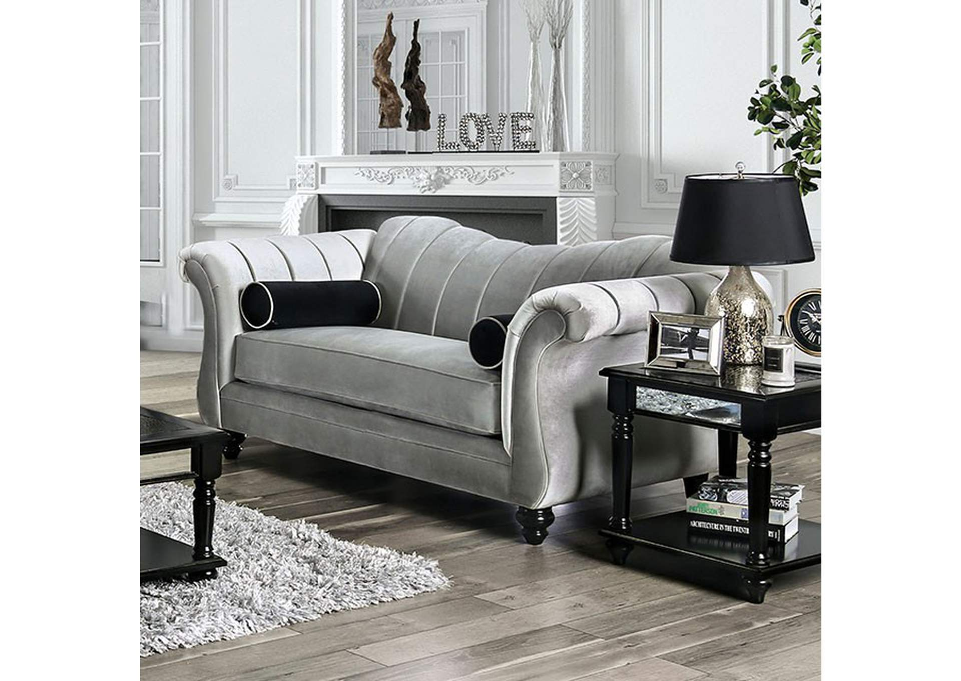 Marvin Gray Loveseat,Furniture of America