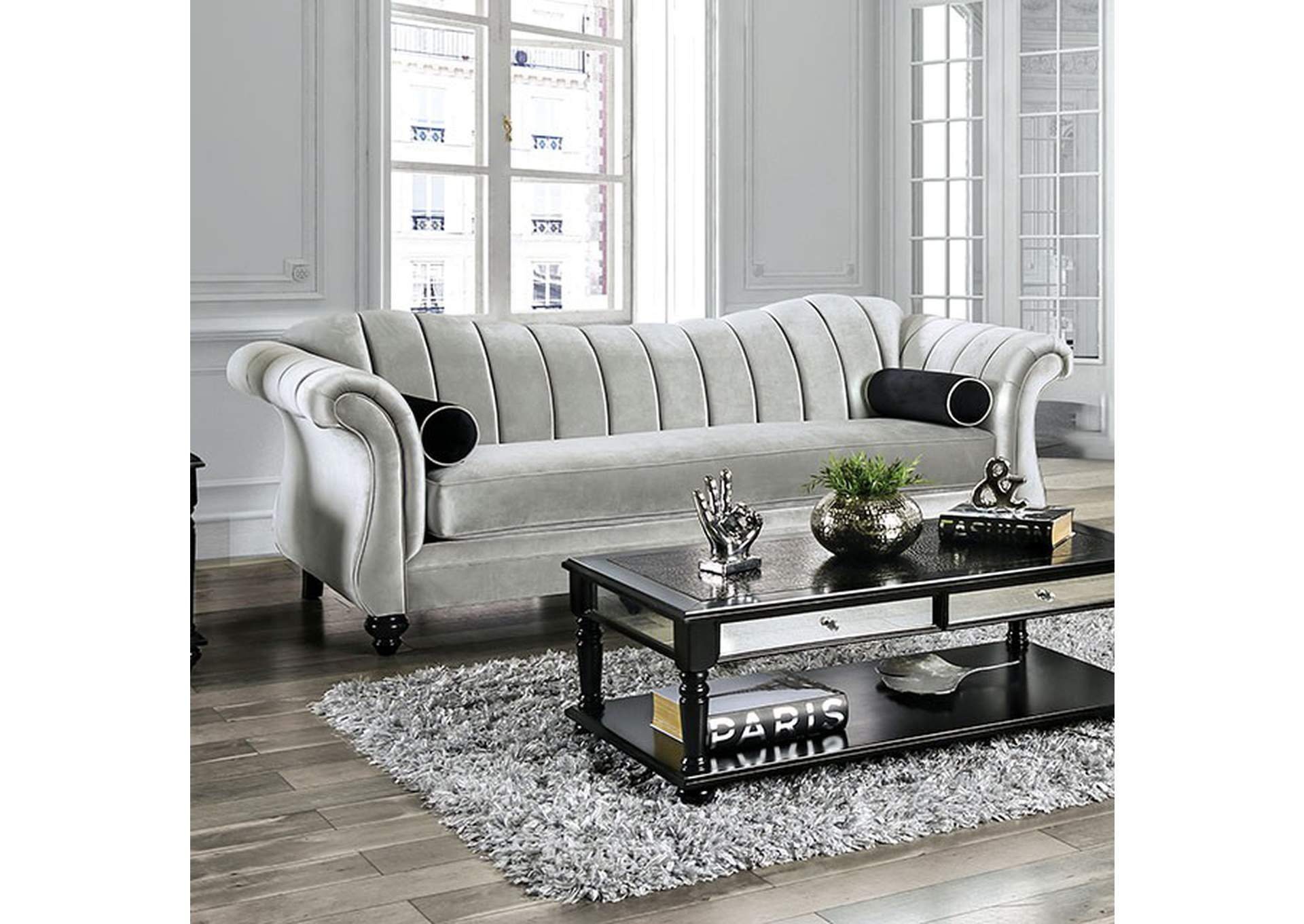 Marvin Gray Stationary Sofa,Furniture of America