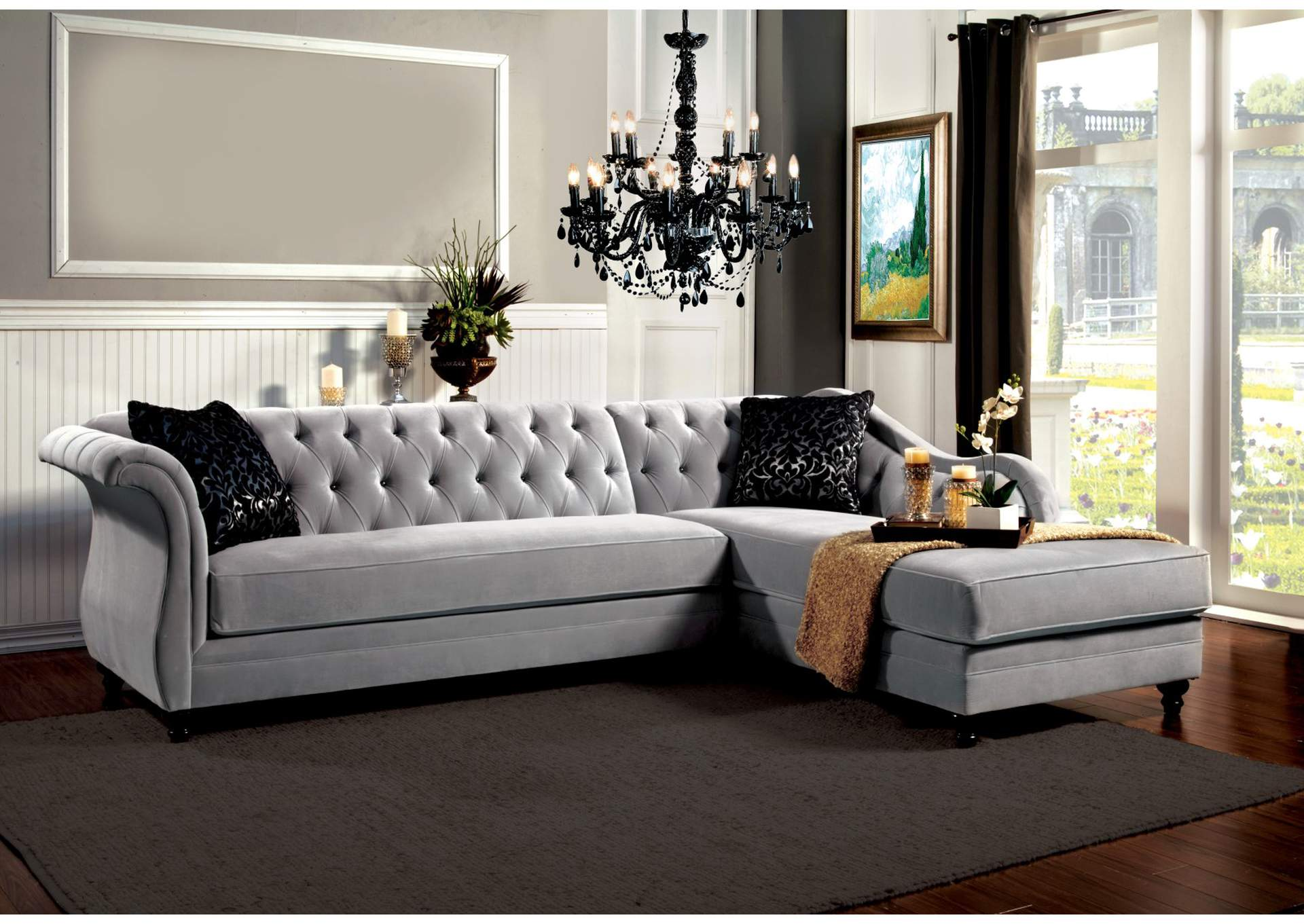 Rotterdam Warm Gray Sectional,Furniture of America