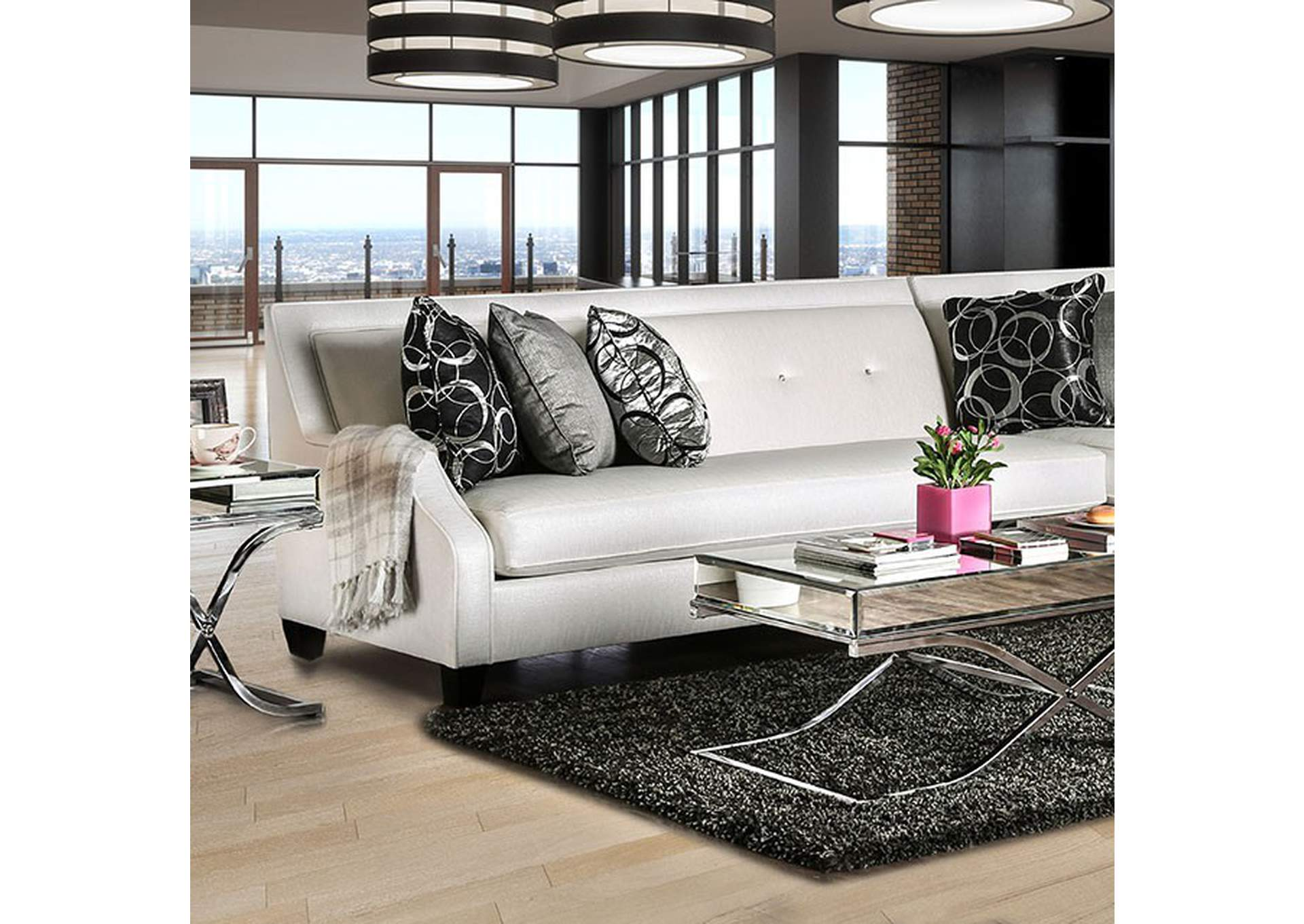 Betria Silver Sectional,Furniture of America