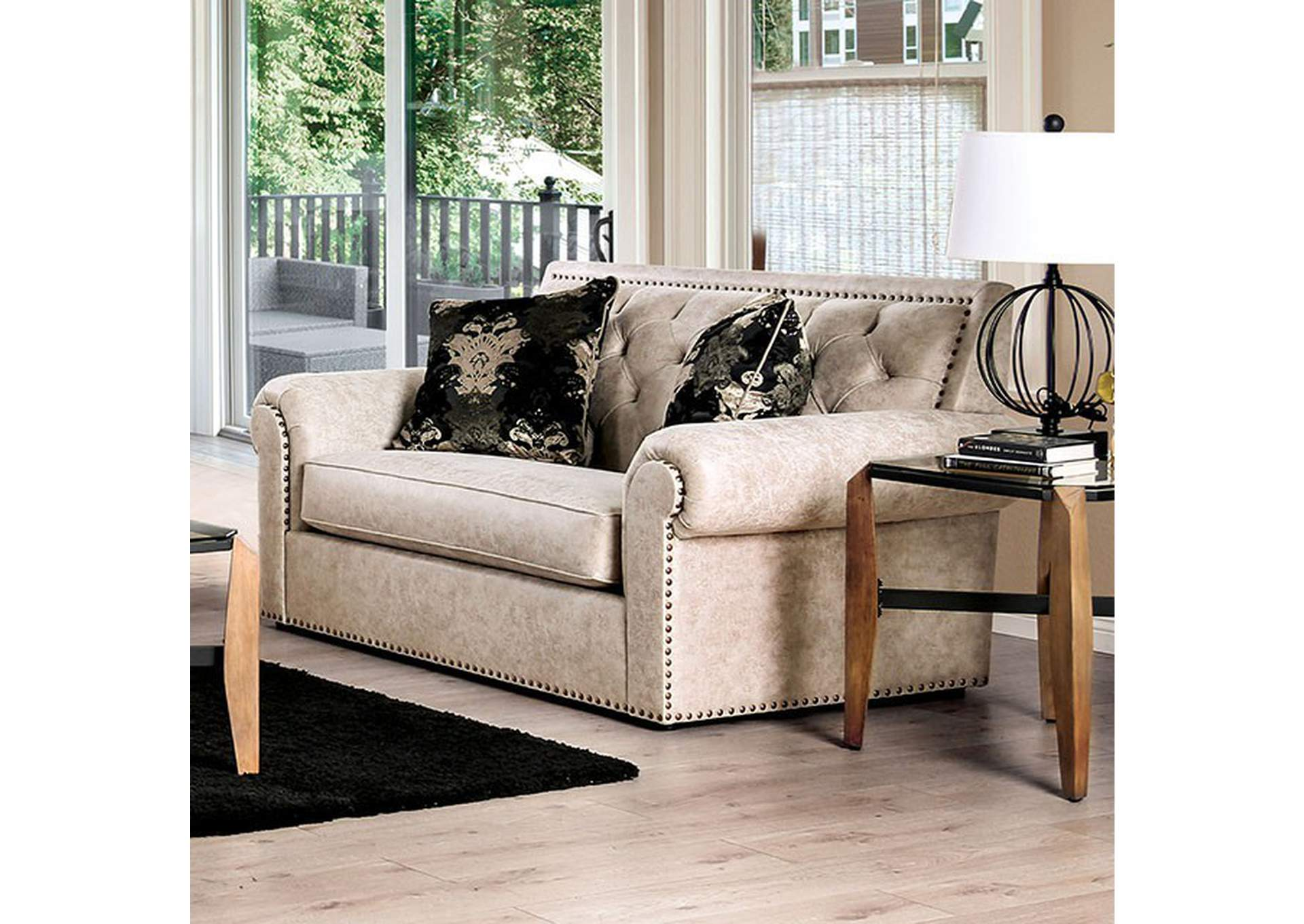 Parshall Beige Loveseat,Furniture of America