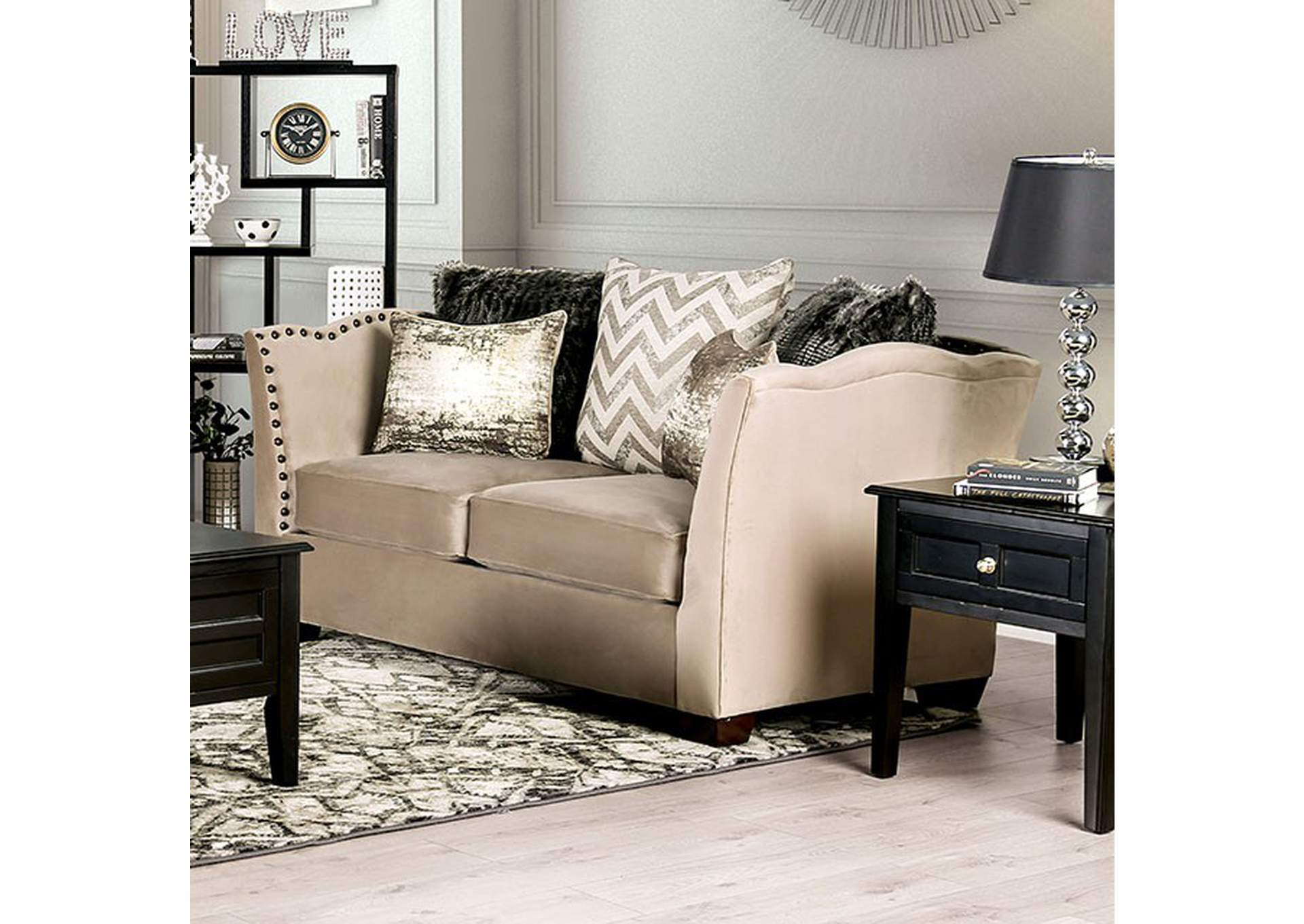 Hampden Beige Loveseat,Furniture of America