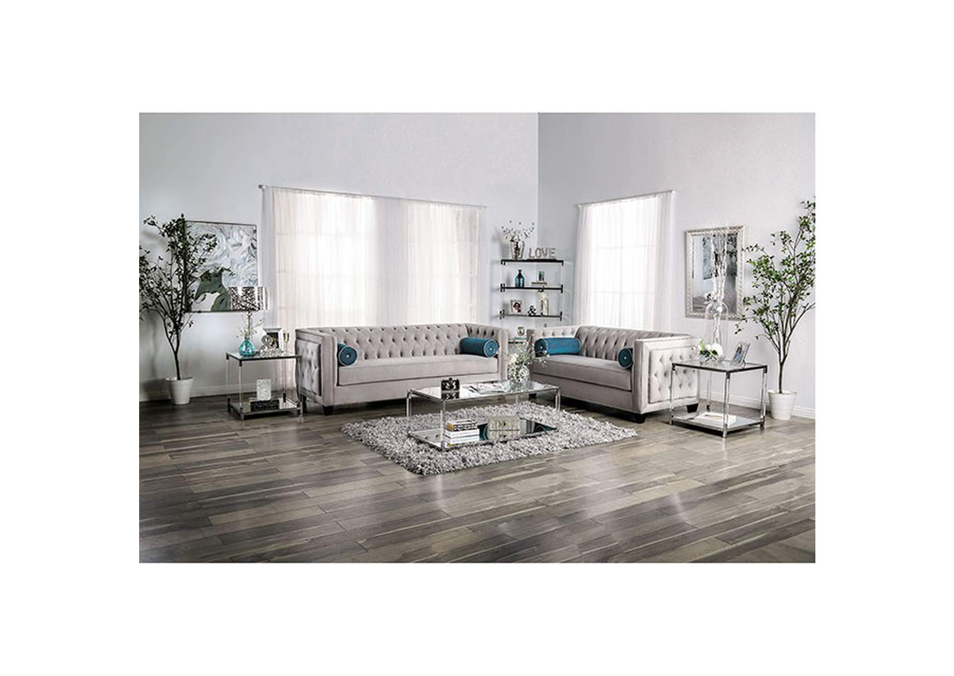 Silvan Gray Loveseat,Furniture of America