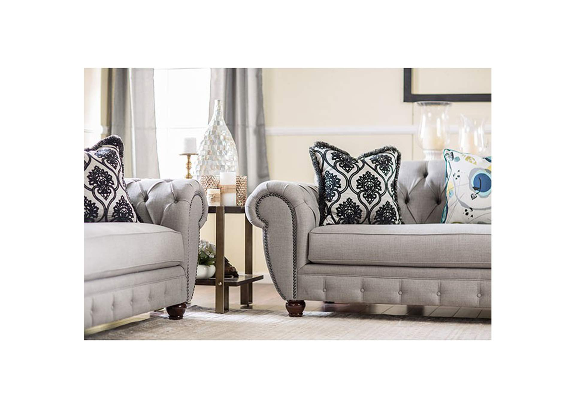 Vivianna Gray Tufted Sofa w/Pillows,Furniture of America
