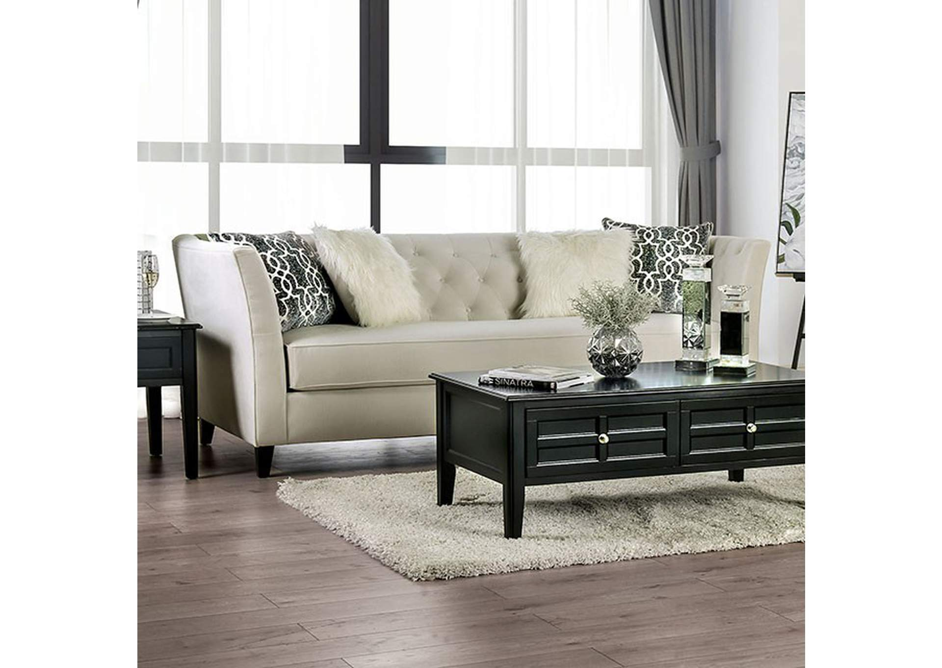 Monaghan Ivory Sofa,Furniture of America