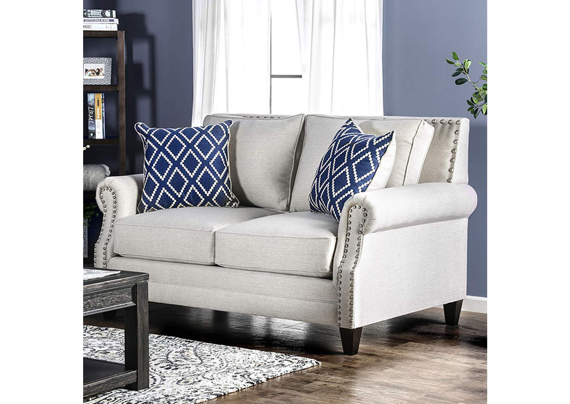 Giovanni Beige Loveseat,Furniture of America