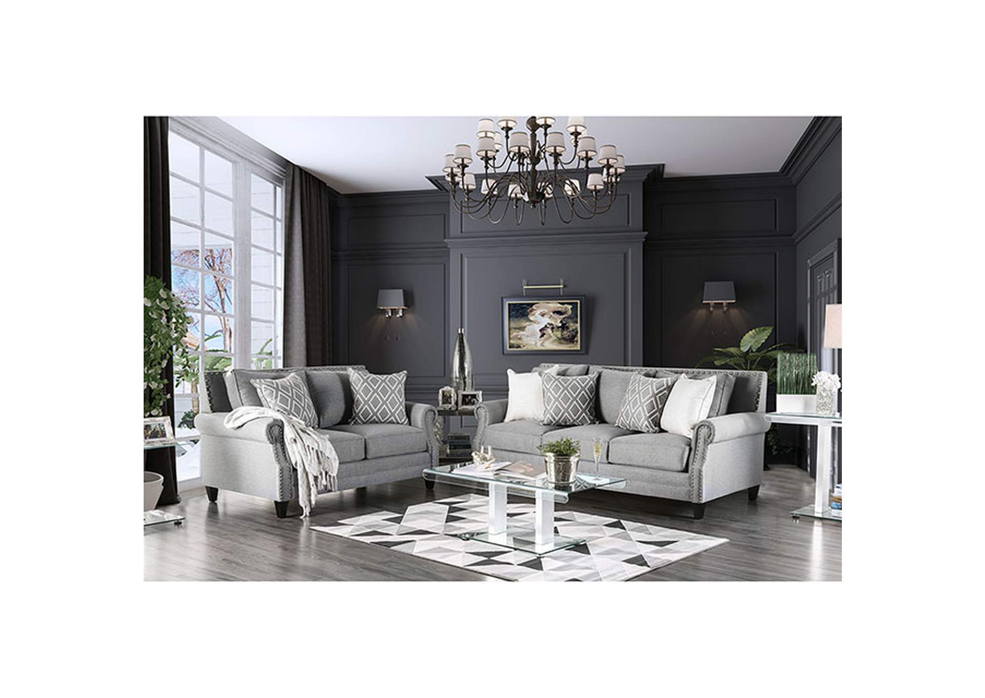 Giovanni Gray Loveseat,Furniture of America