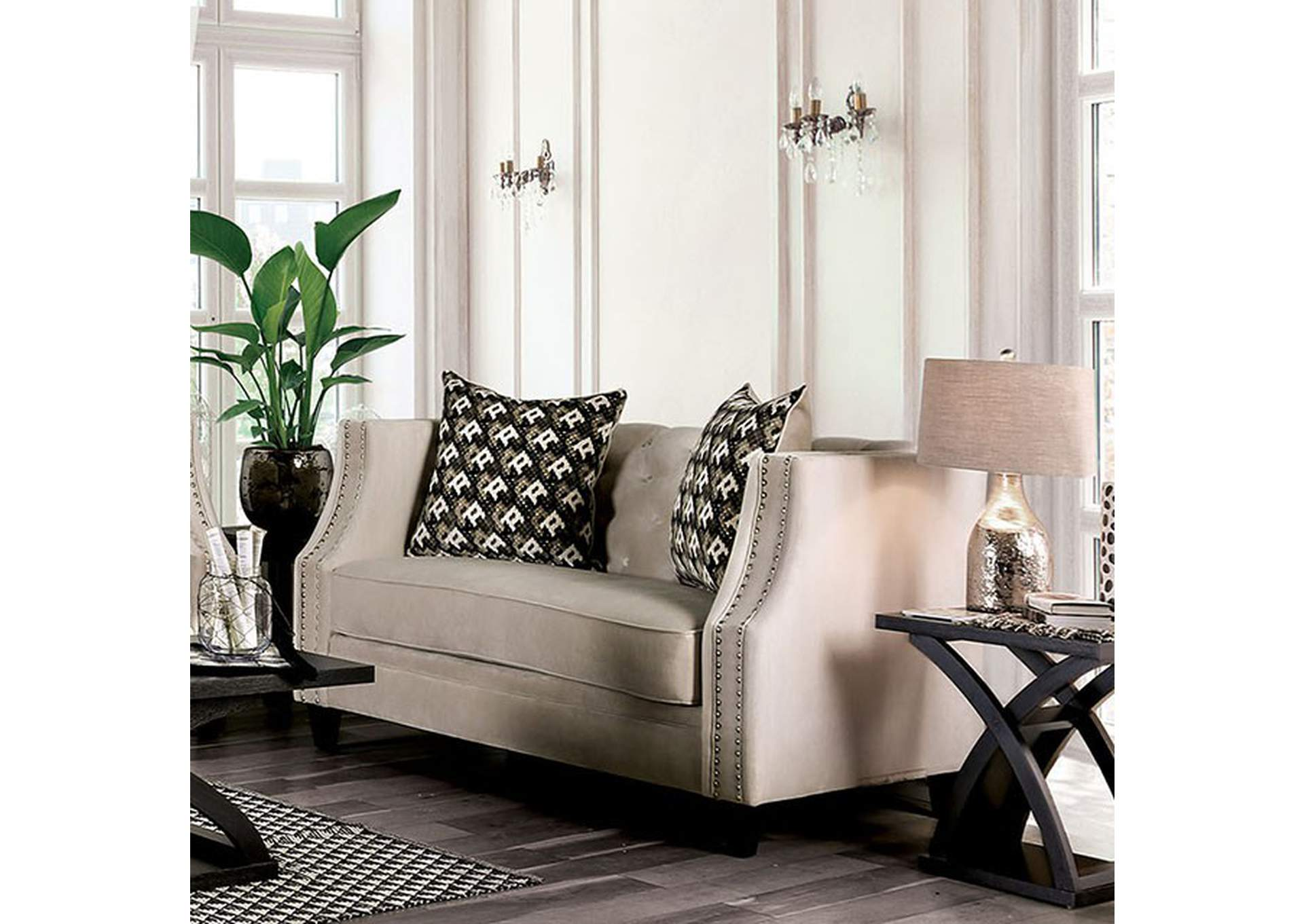 Aniyah Beige Loveseat,Furniture of America