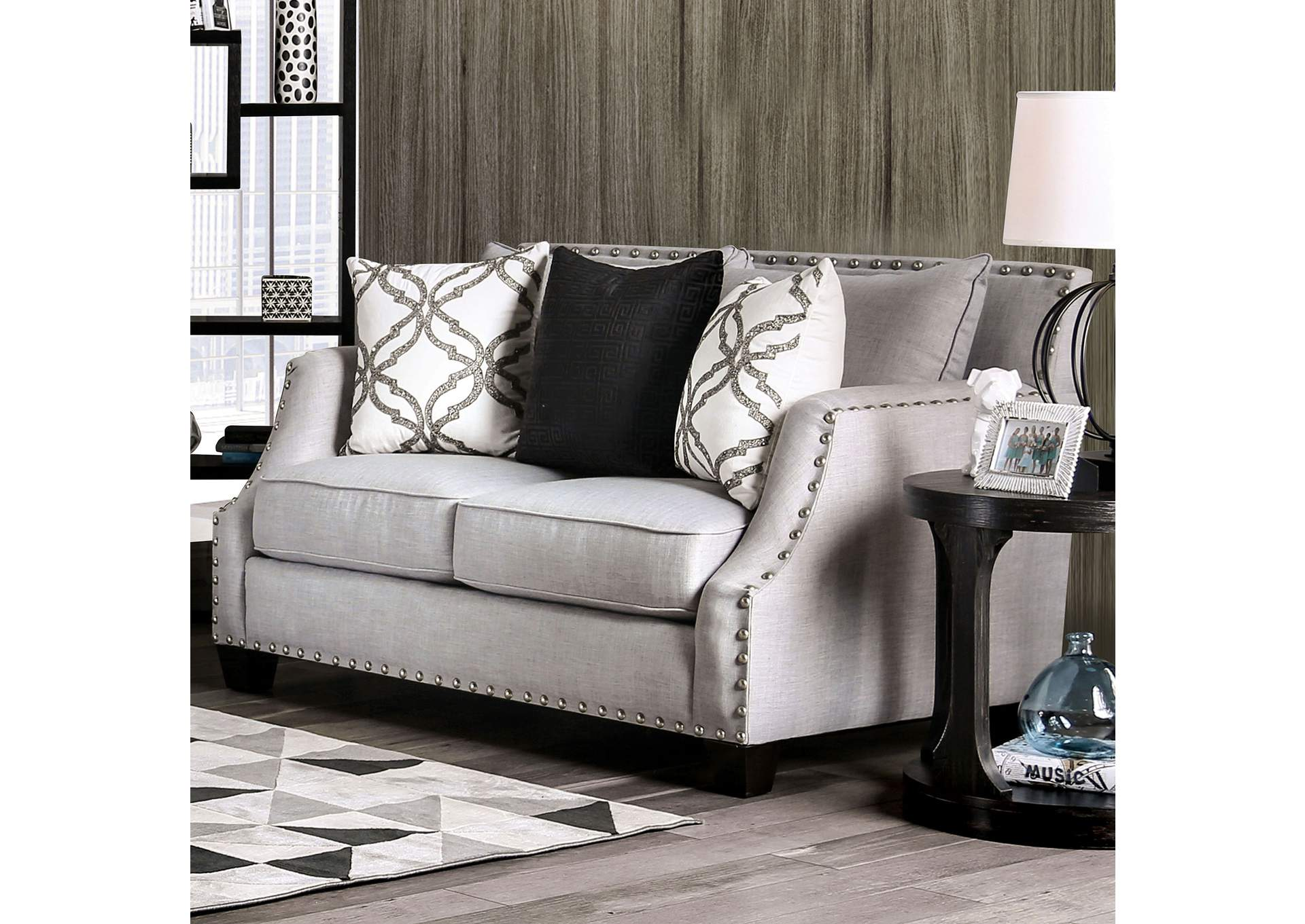 Phoibe Gray Loveseat,Furniture of America
