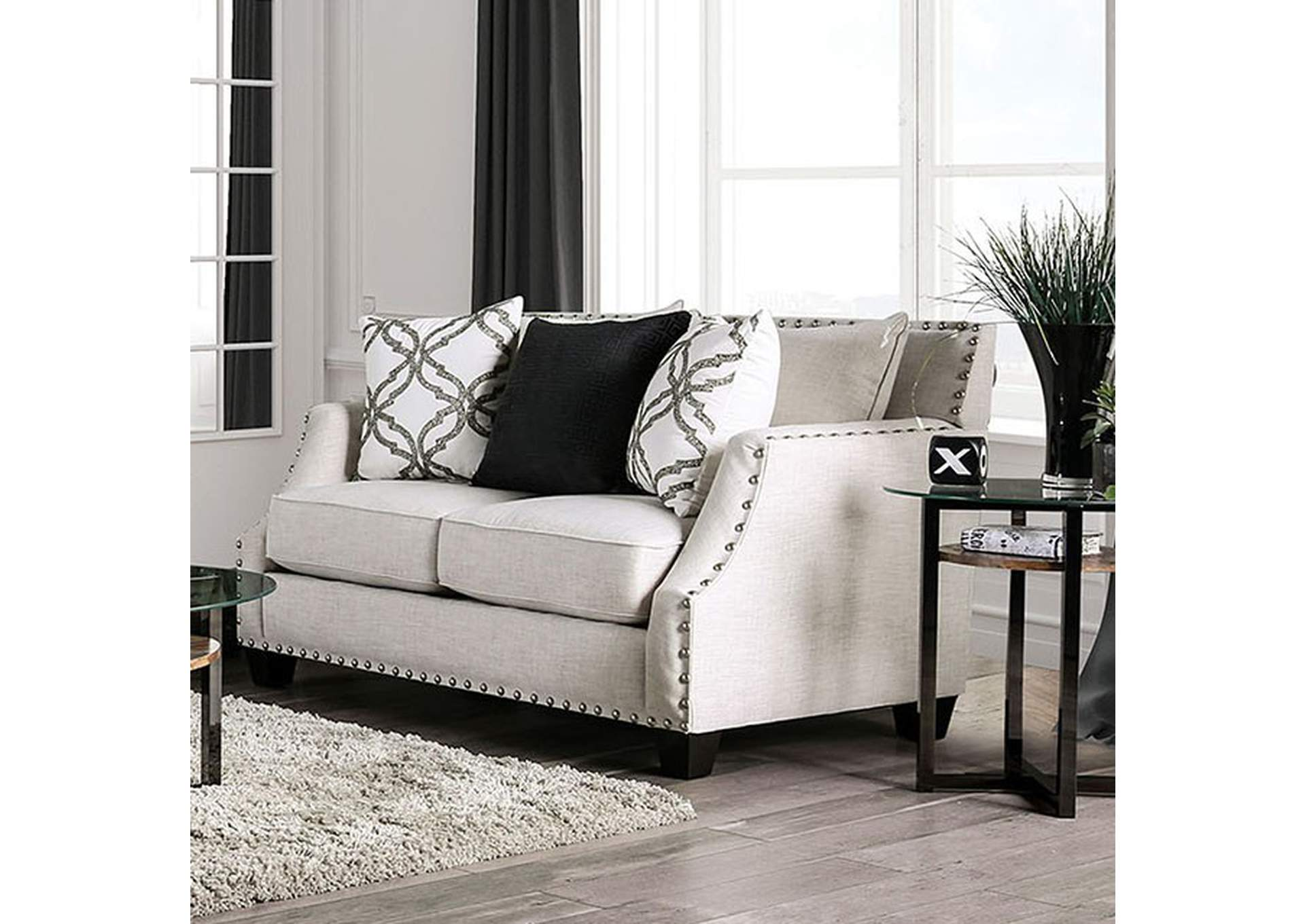 Phoibe Ivory Loveseat,Furniture of America