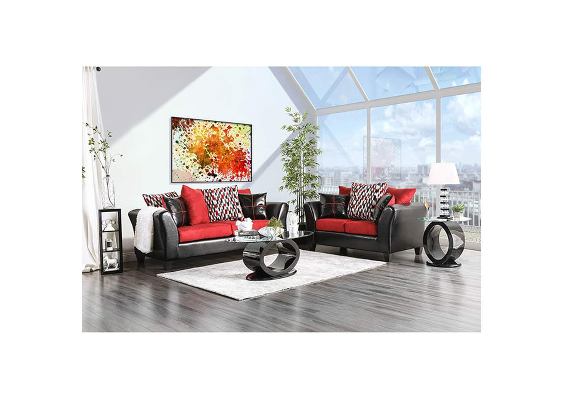 Braelyn Black/Red Loveseat,Furniture of America