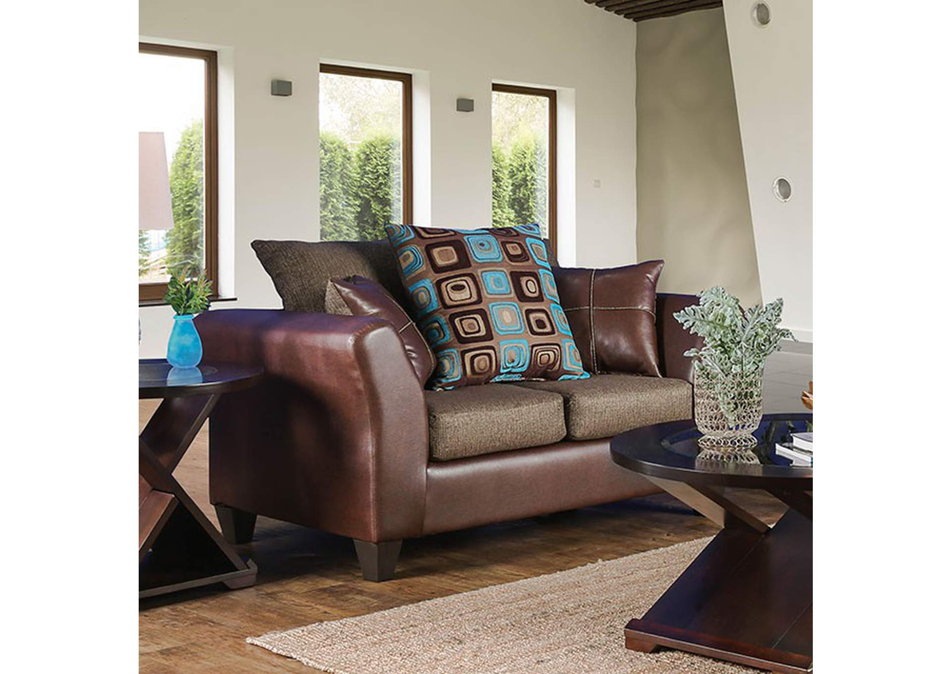 Kaelyn Brown Loveseat,Furniture of America