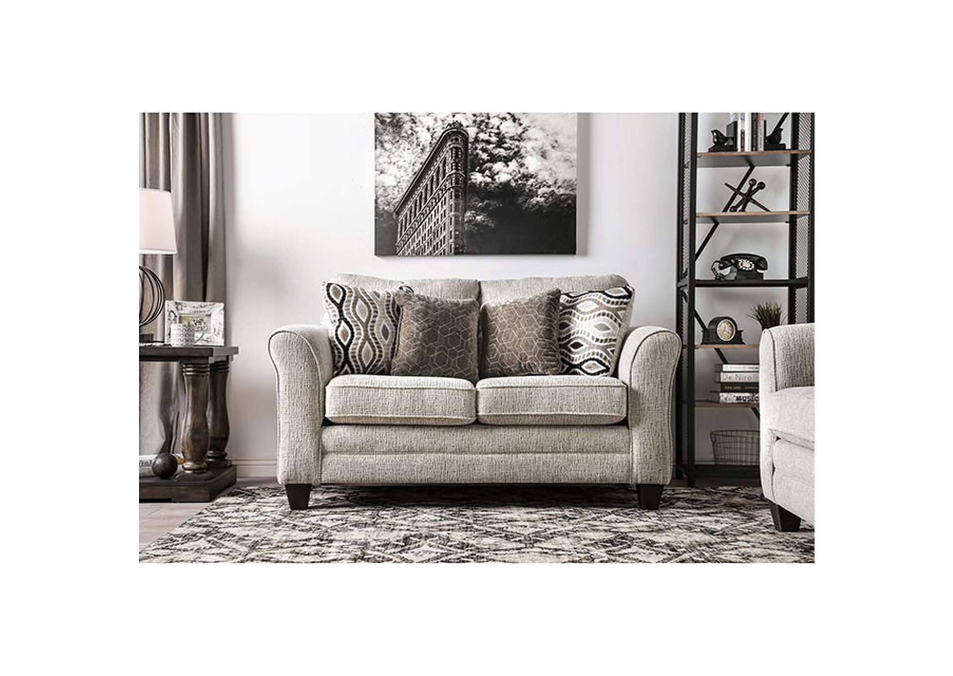 Aleah Light Gray Loveseat,Furniture of America
