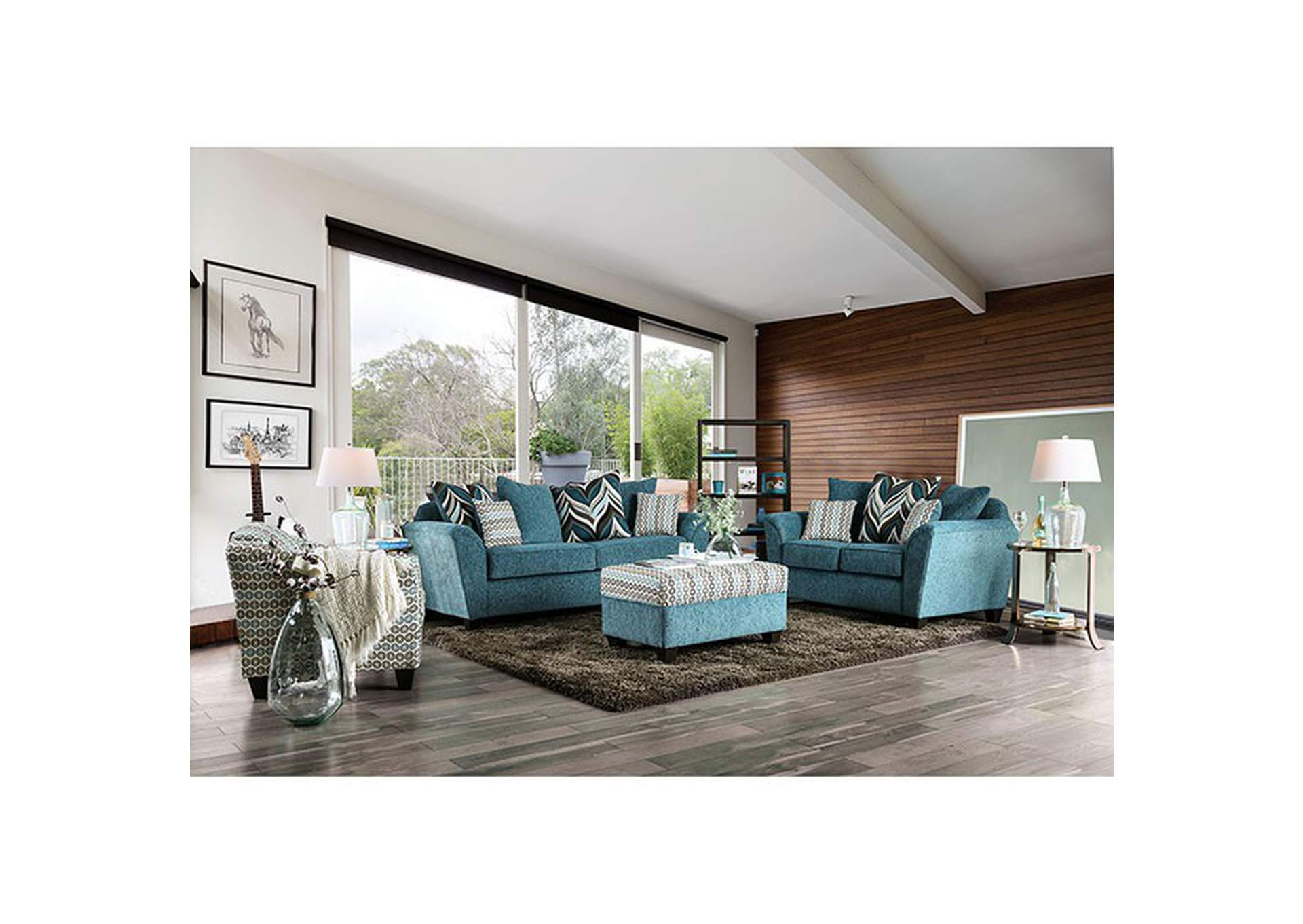 River Turquoise Loveseat,Furniture of America