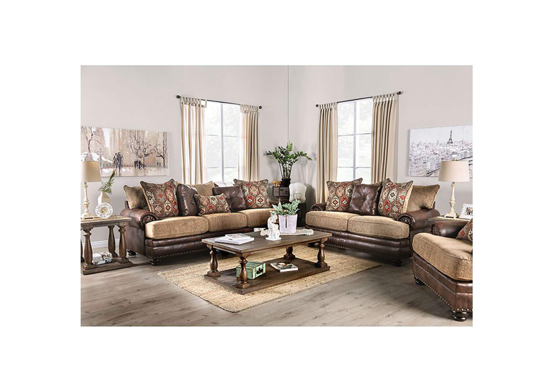 Fletcher Brown Stationary Sofa,Furniture of America