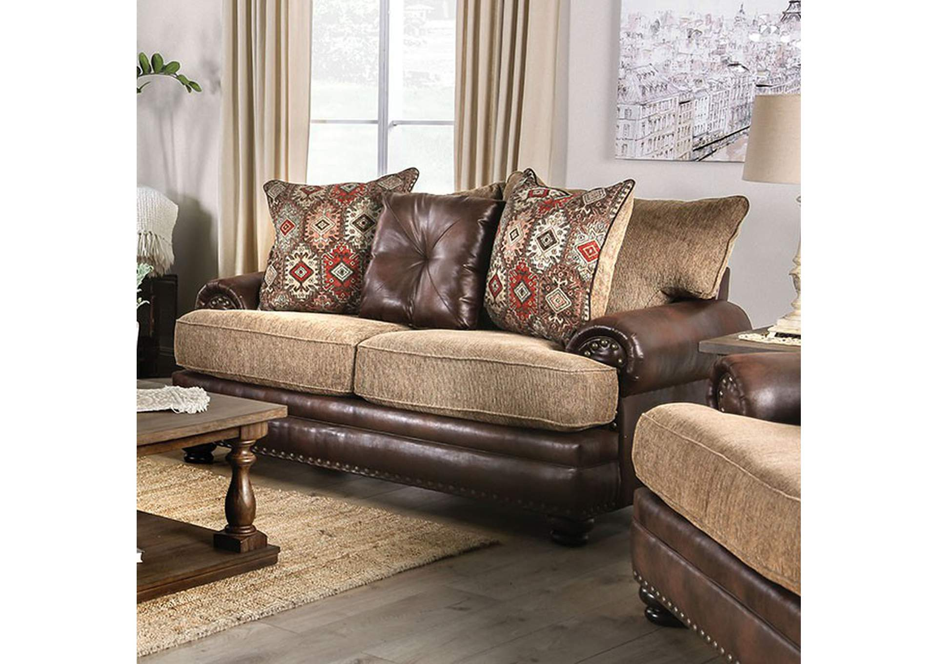Fletcher Brown Loveseat,Furniture of America
