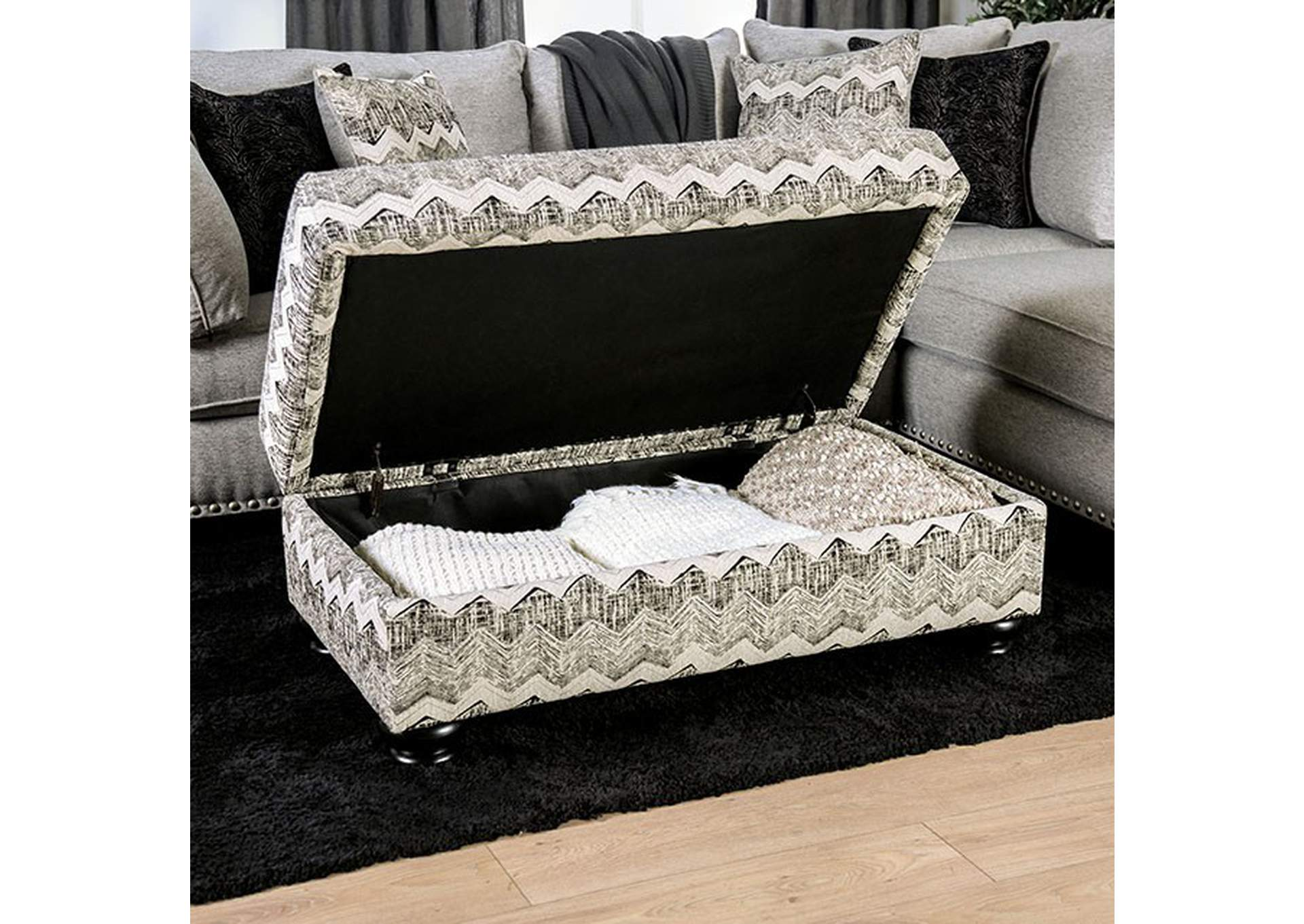 Pasquale Gray Ottoman,Furniture of America