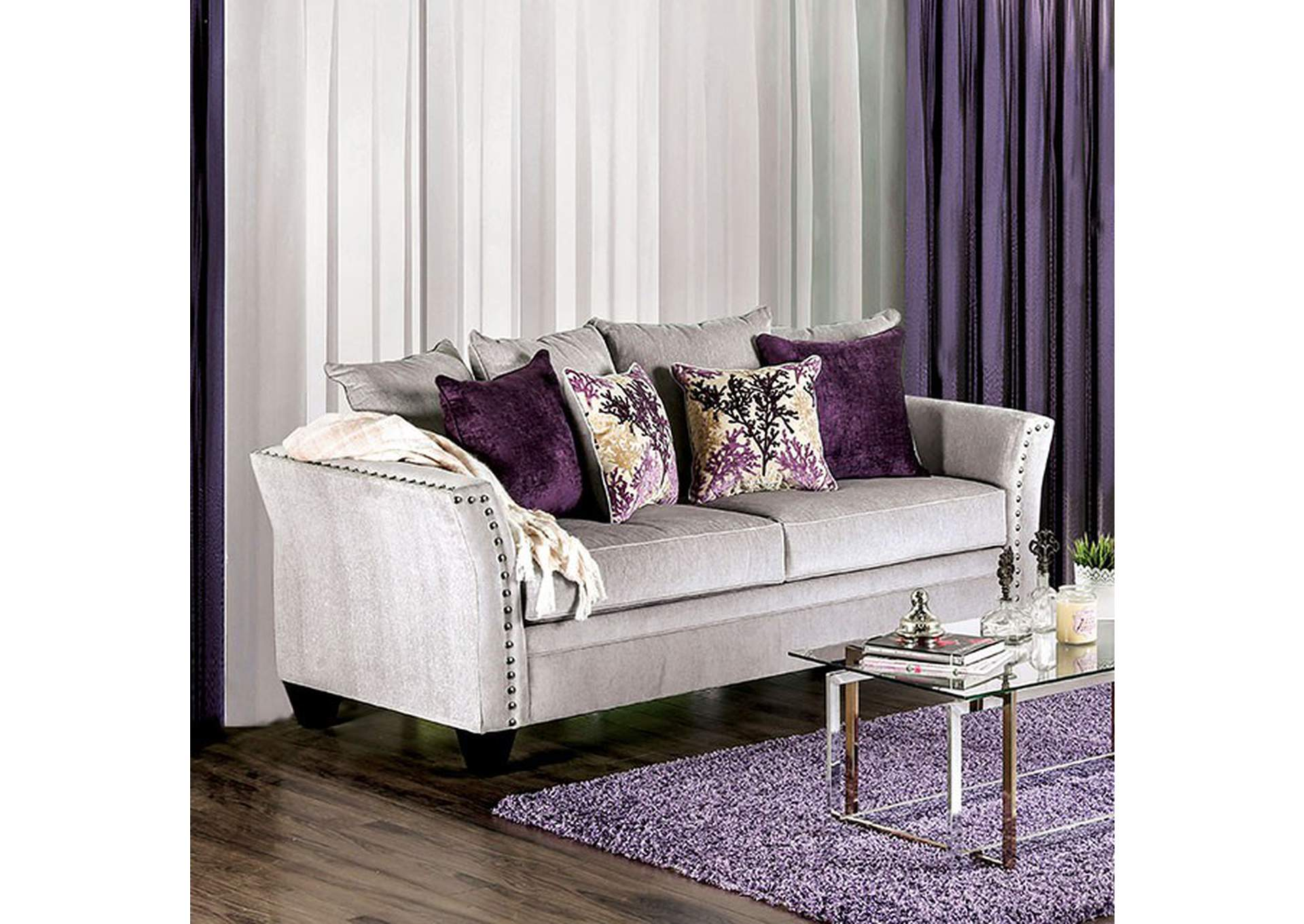 Oliviera Gray Sofa,Furniture of America